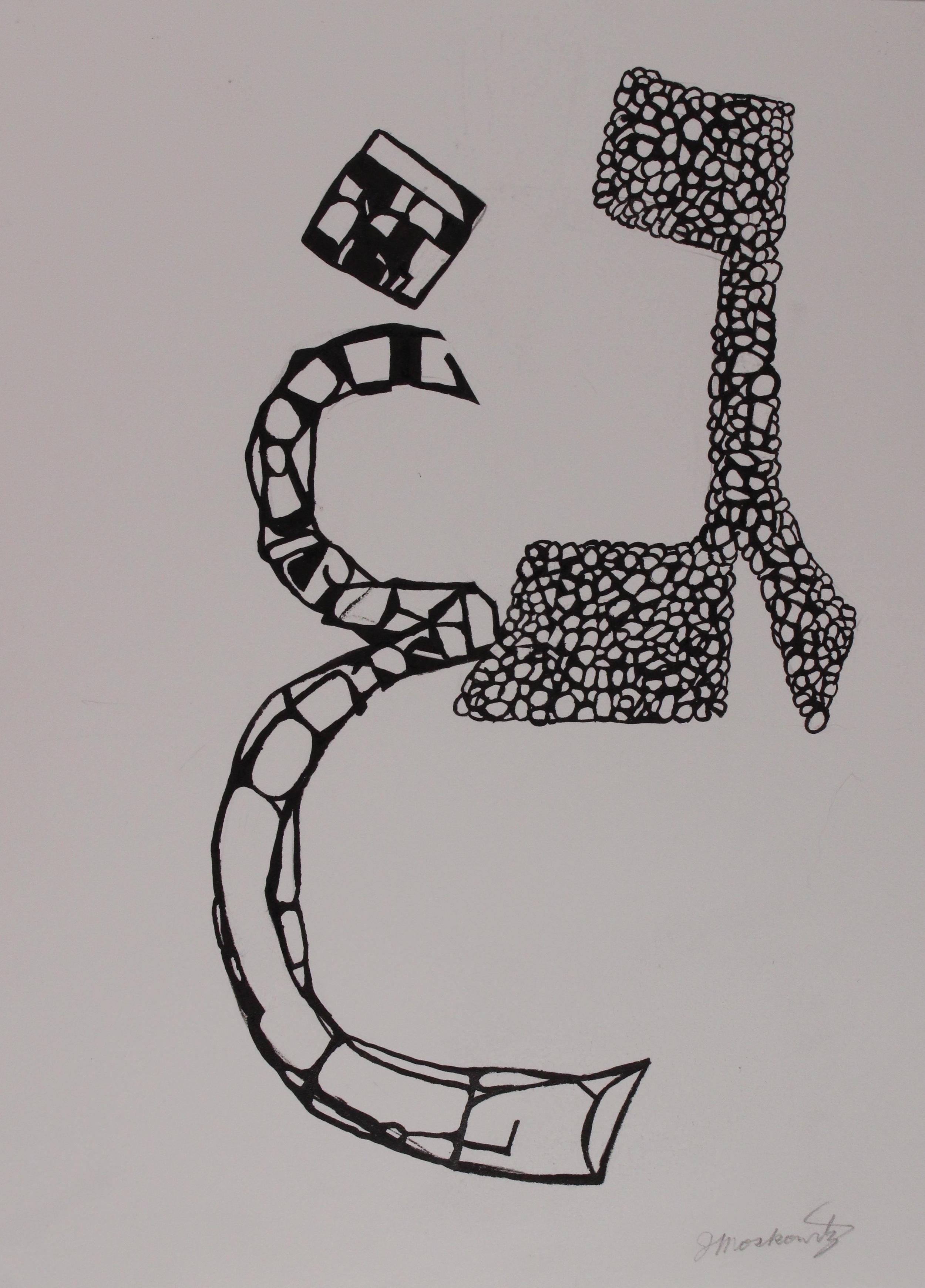 Joel Moskowitz ,  Gimmel/ghayn , ink on paper, 14x10