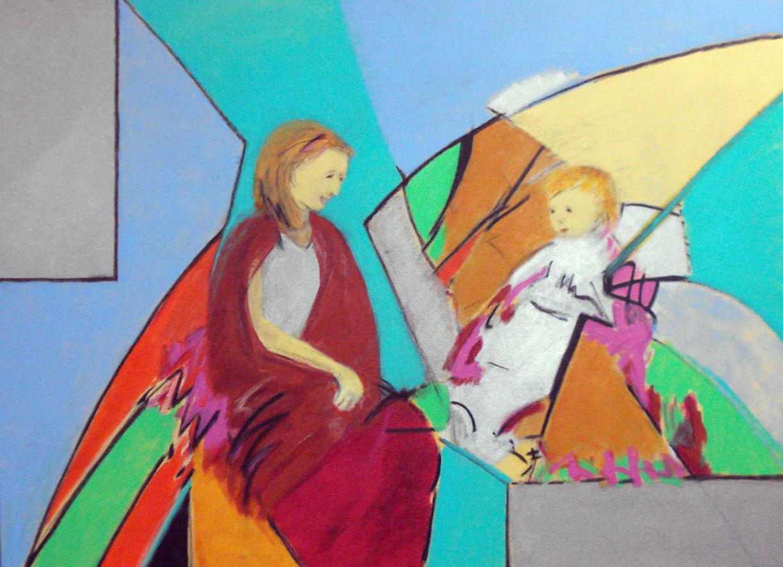 Pat Paxson ,  Conversation in the Garden , acrylic on canvas, 30x40