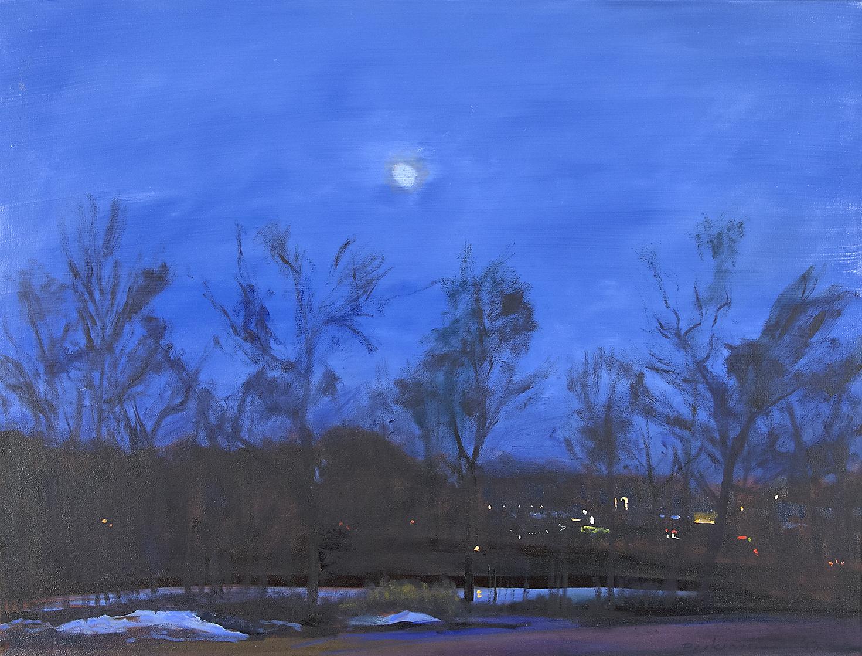 Roy Perkinson,  Moon, Farm Pond , oil on canvas, 30x40