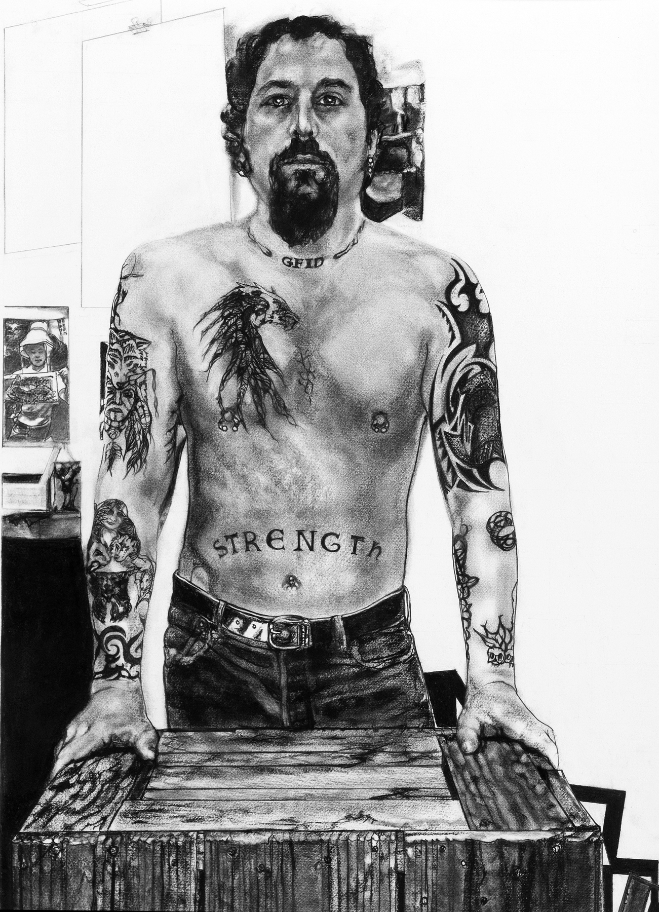 Mary Spencer,  Jay Showing His Ink , charcoal on rag paper, 30x22,framed