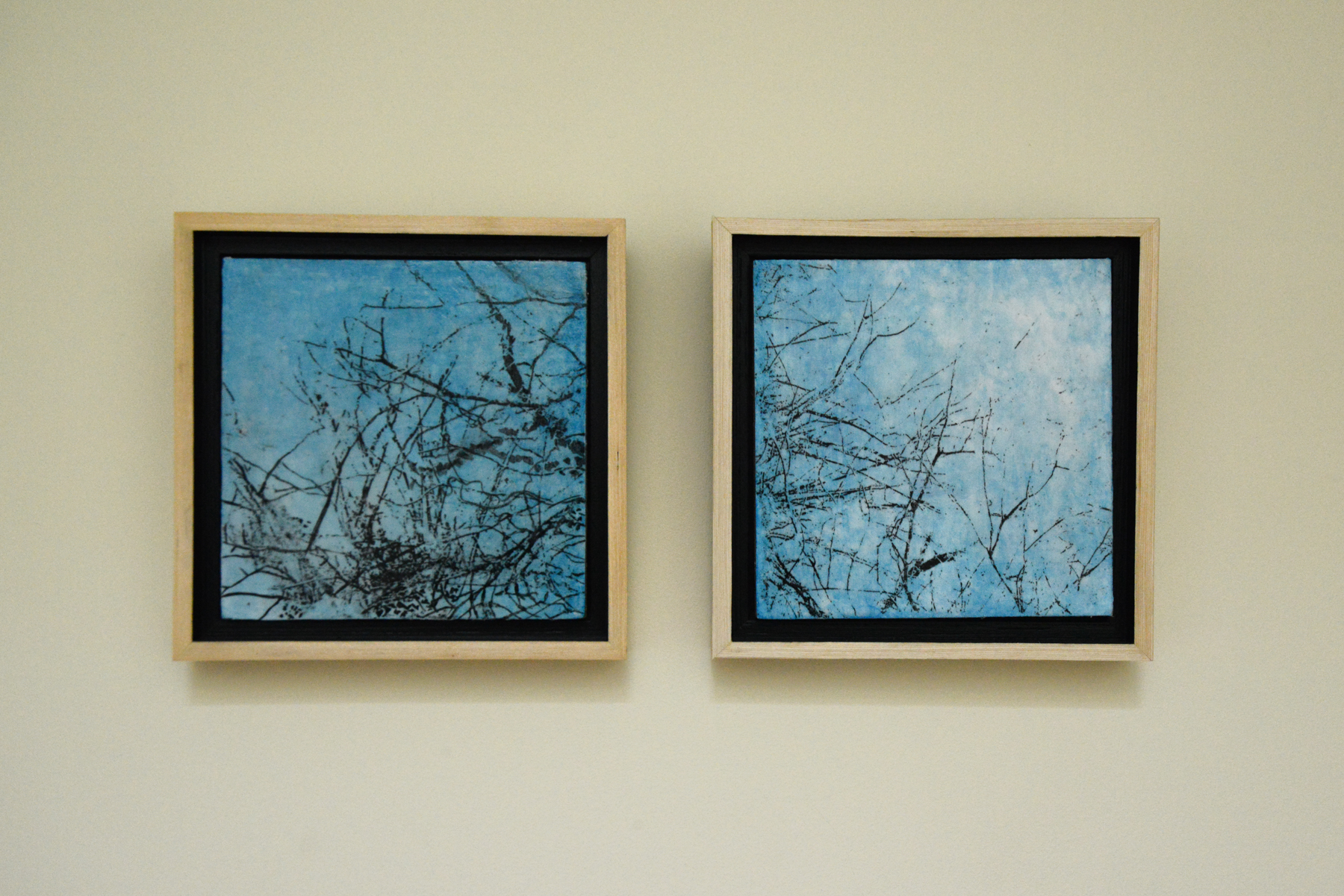 My newest acquisition, two sweet little paintings by Cheryl Clinton, from her  Boylston Tree Light  series.