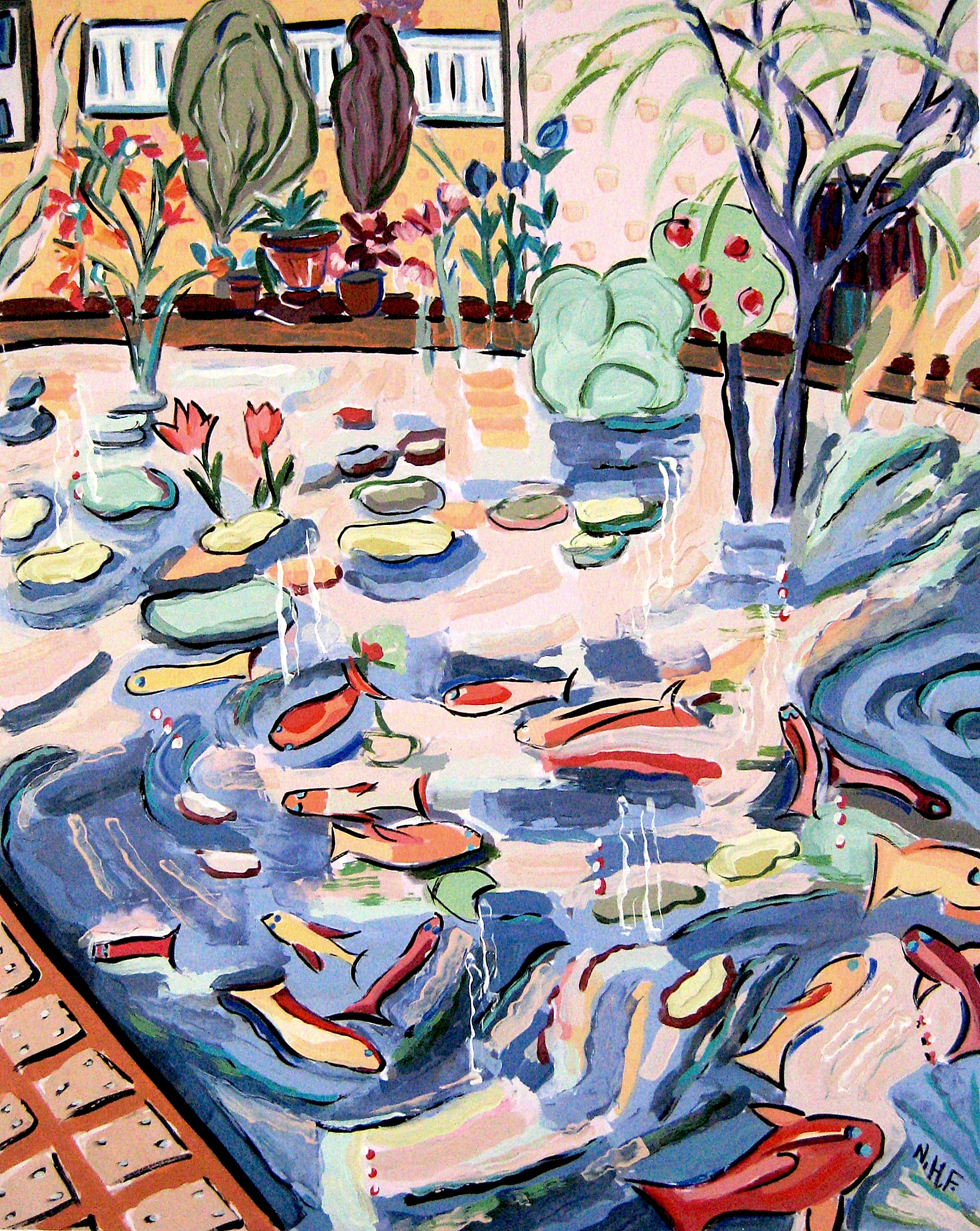 Bright Gardens of Fish 2 , acrylic on mounted board, 18x15, 22x20 matted