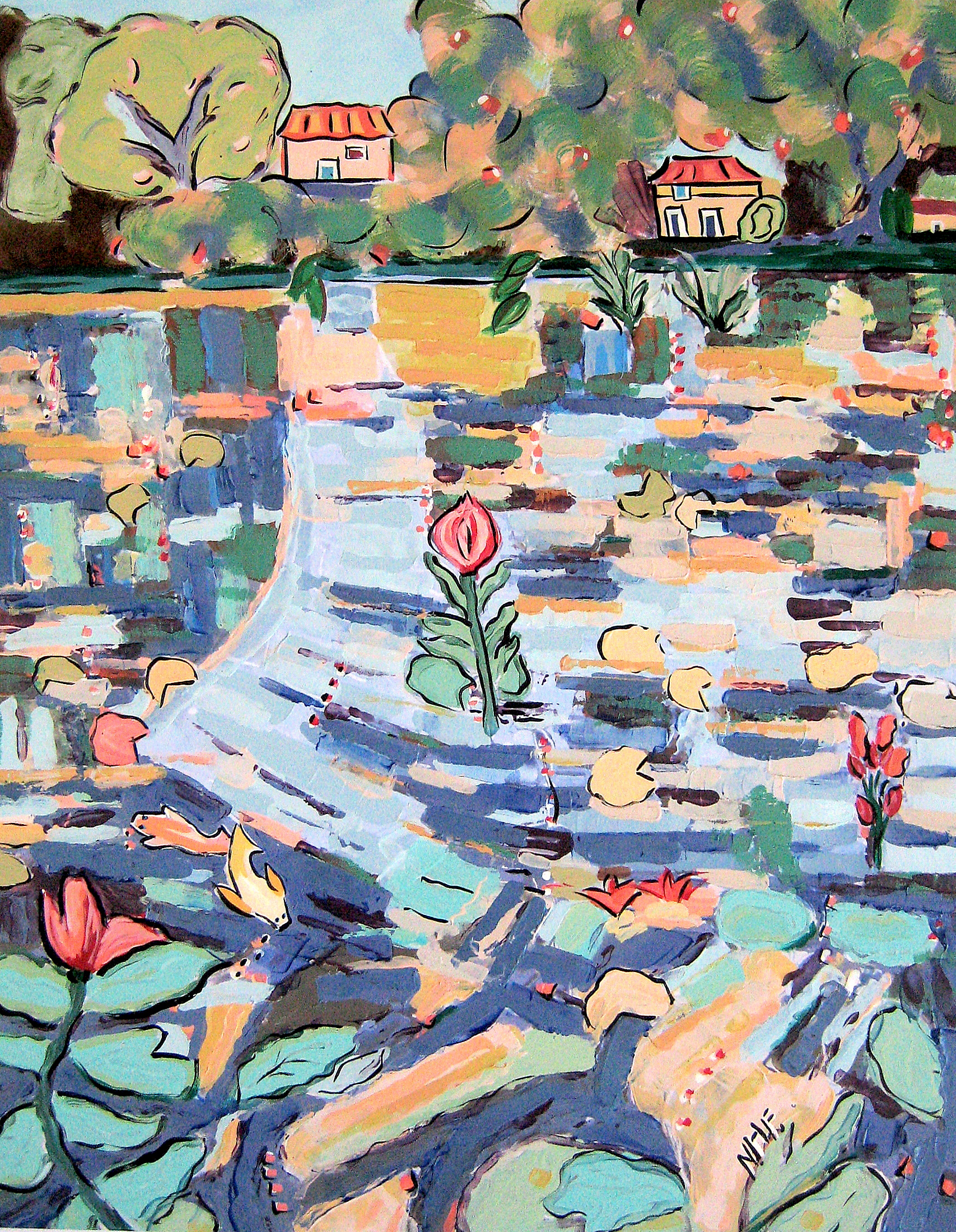 Houses Beyond the Lily Pond 2 , acrylic on mounted board, 18x15, 22x20 matted