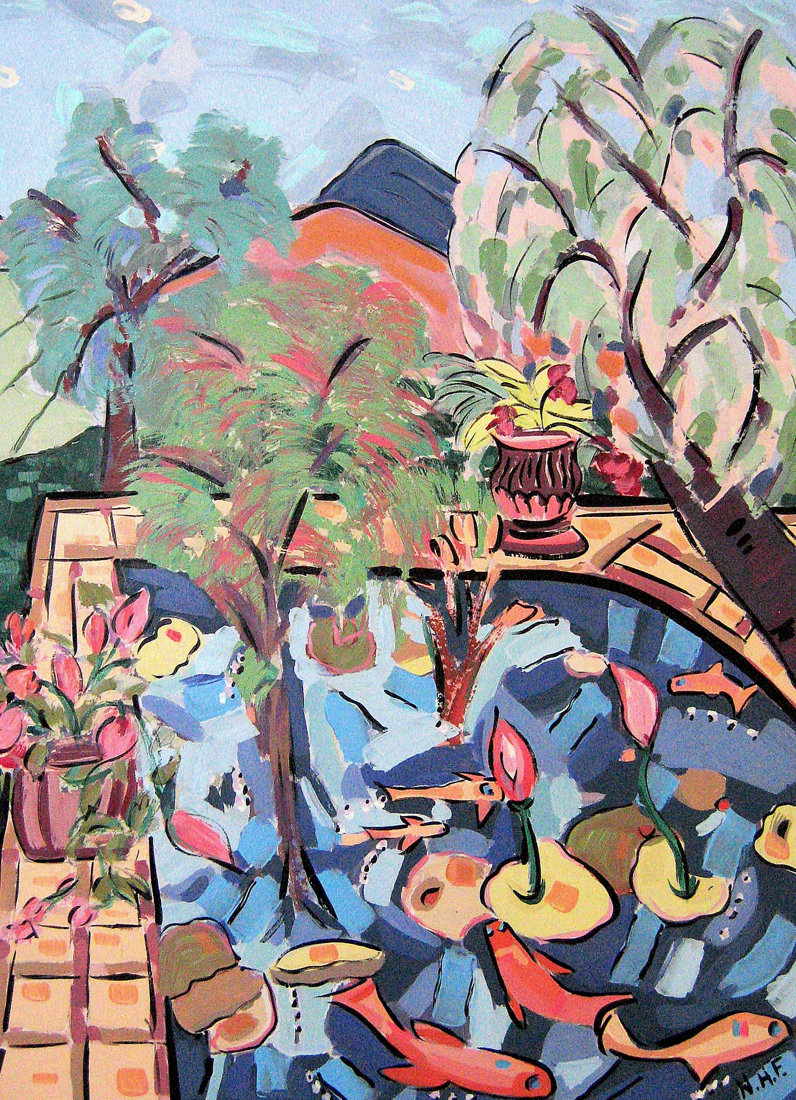 Lily Pond in the Mountains 2 , 18x14, 22x20 matted