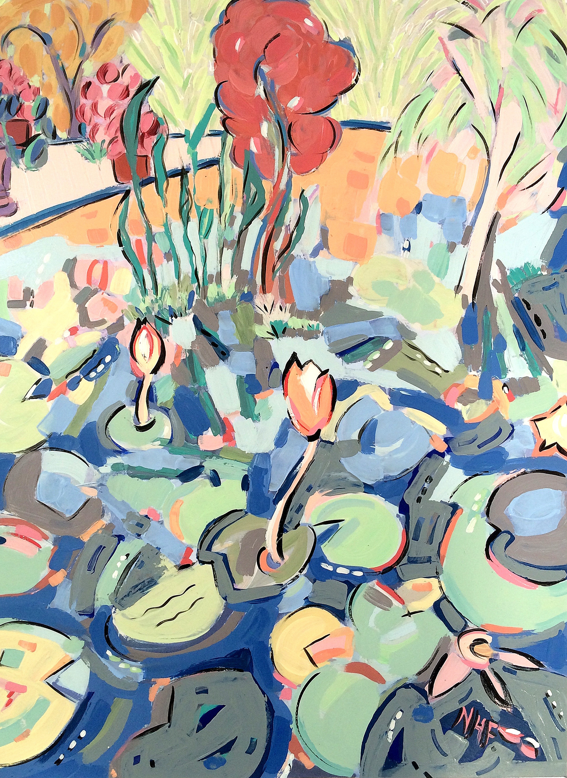 Water Lilies in the Botanical Gardens 2 , acrylic on mounted board, 18x15, 22x20 matted