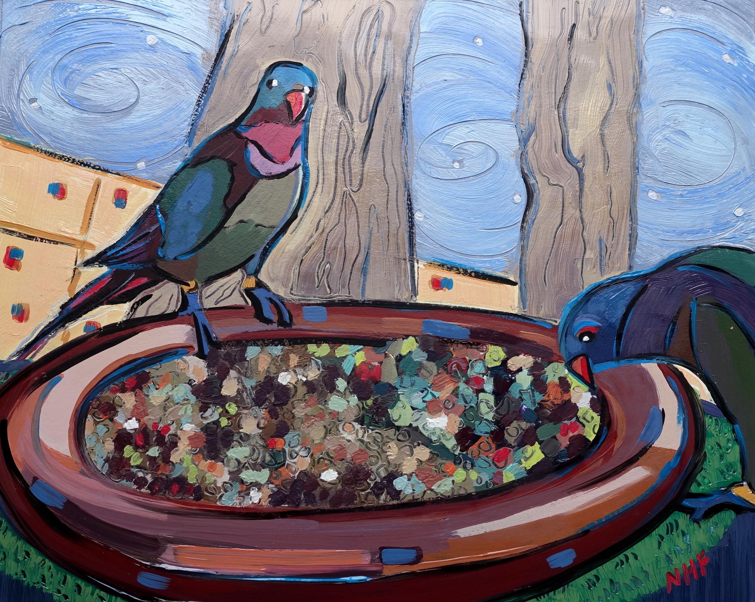 Birds Down Under 2 , oil on panel, 8x10