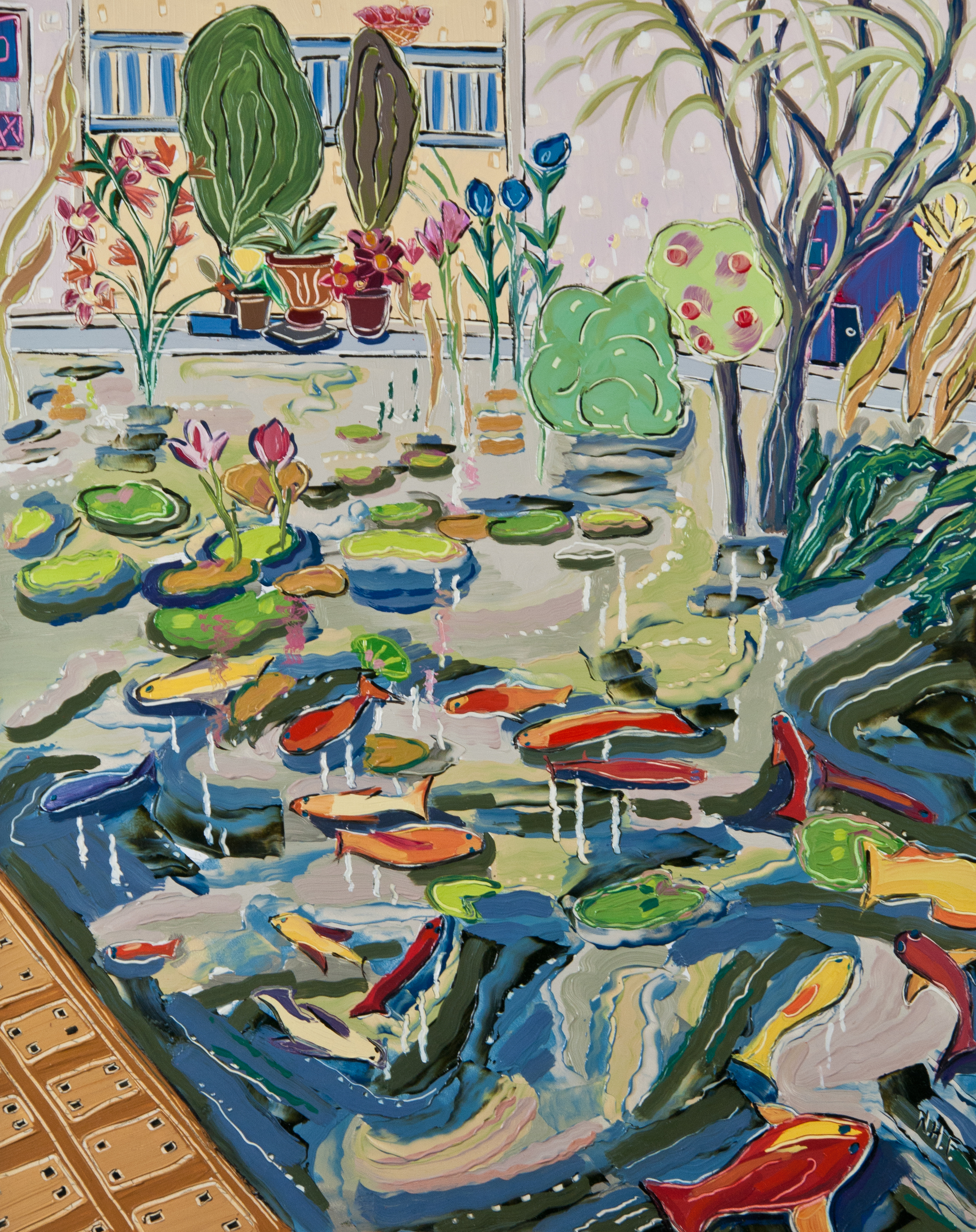 Bright Gardens of Fish , oil on panel, 20x16