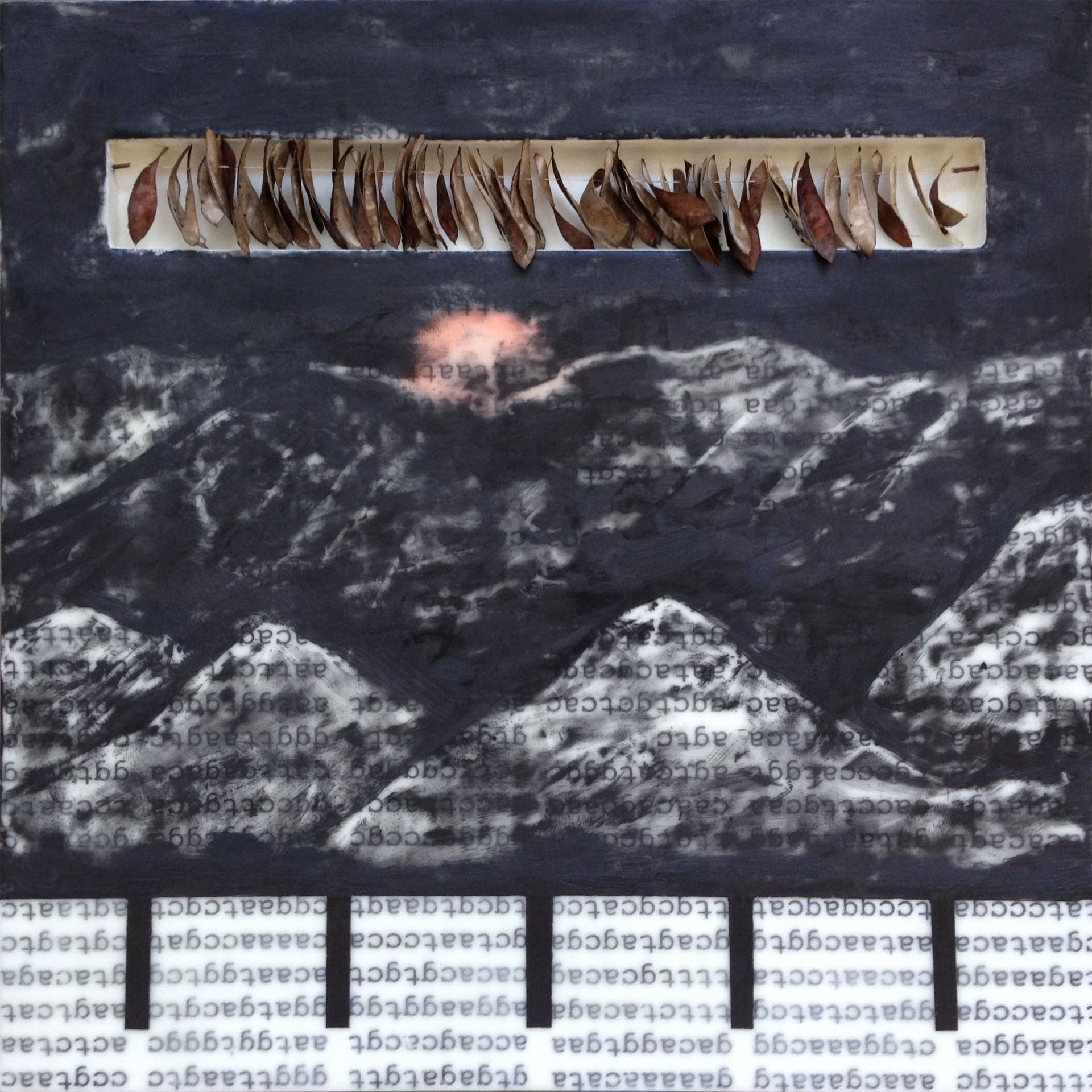 Intervention (Part 2,) encaustic and mixed media on braced wood panel, 20x20