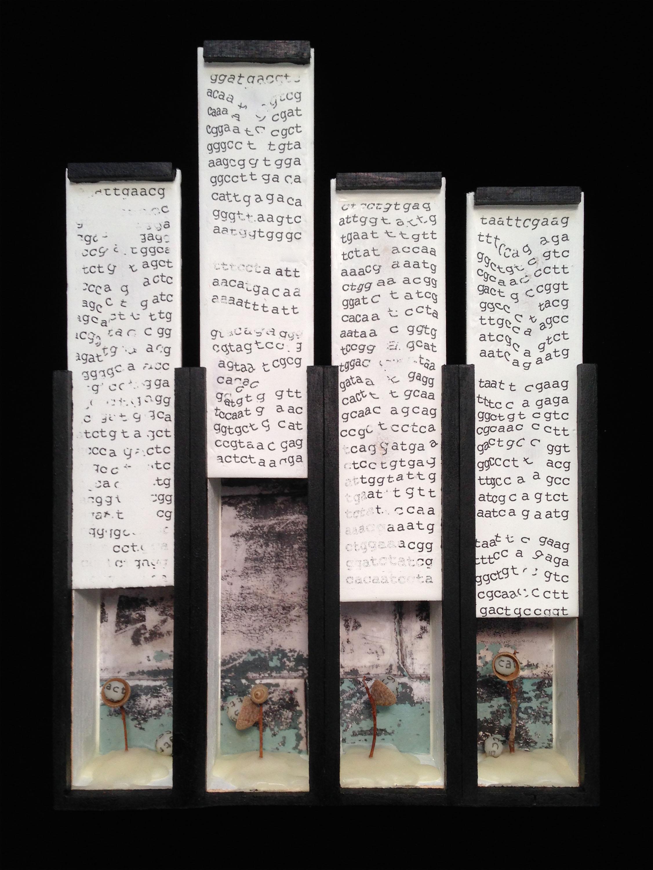 Vestige (Part 6,)  Mixed media on wood boxes, 14x10x3