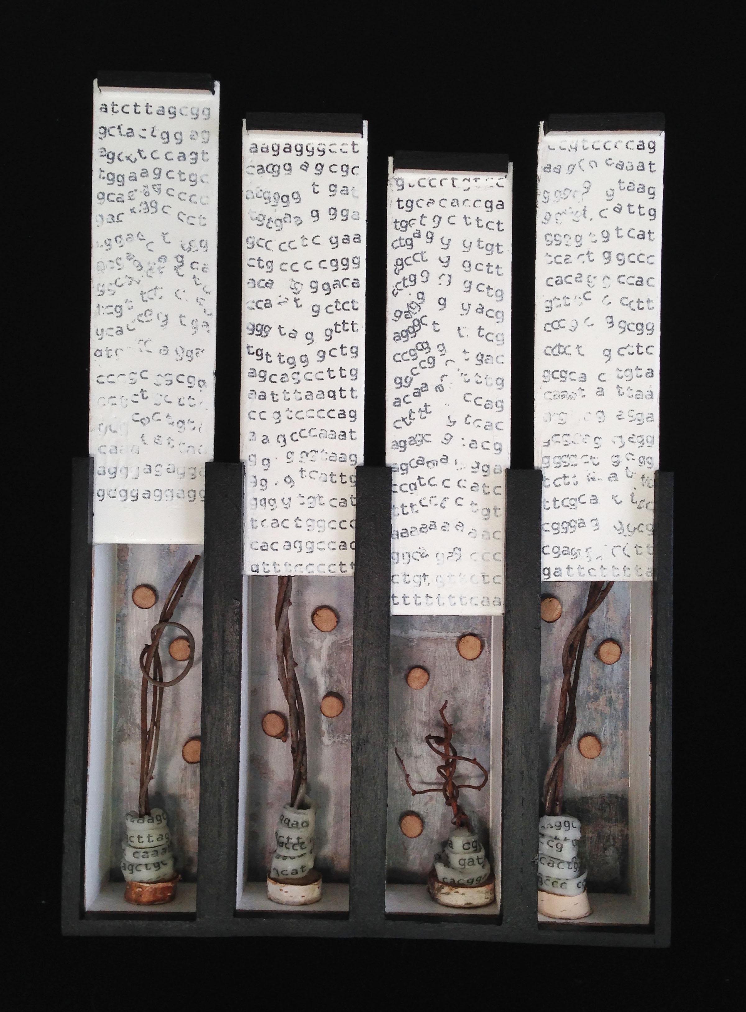 Vestige (Part 8,) Mixed media on wood boxes, 14x10x3