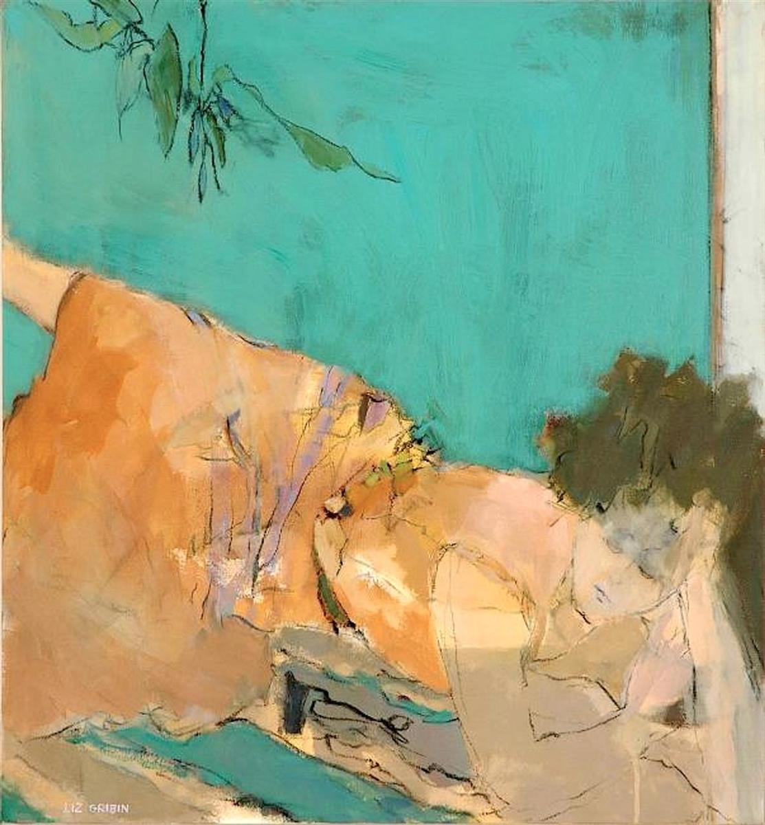 Liz Gribin,   A Blossom Fell  , acrylic, 28x28