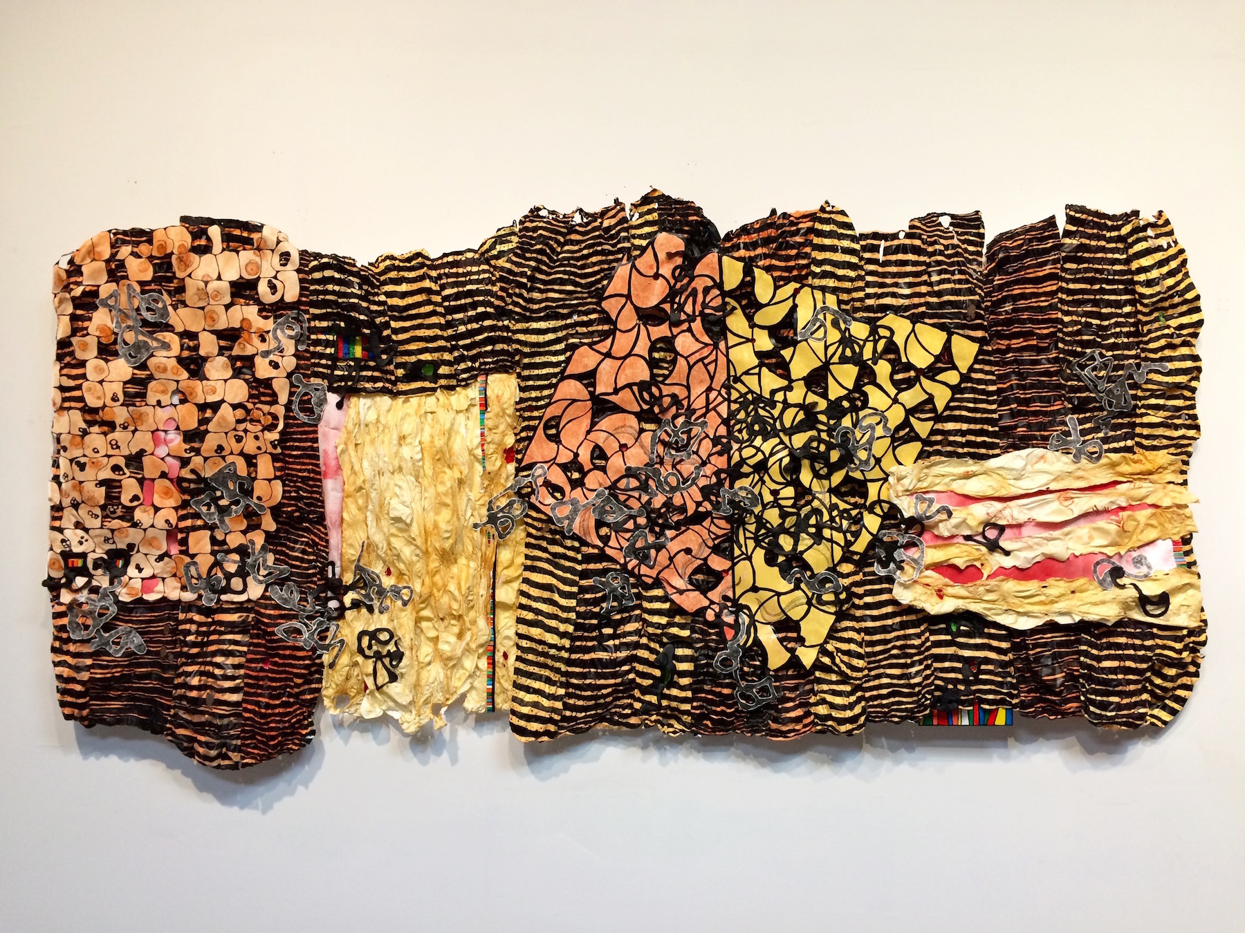 "Knowledge is a Rumor till it Lives in the Muscle , acrylic on cut and molded Tyvek; mixed media, 78"" x 38"" x 3"""
