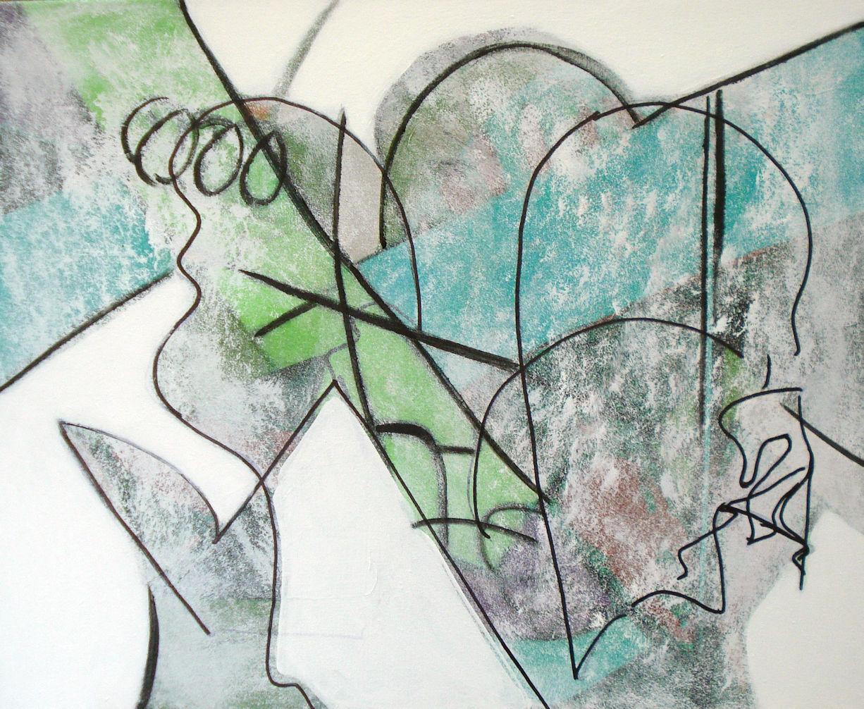 Pat Paxson, Group Minus One , mixed media on canvas, 24x30