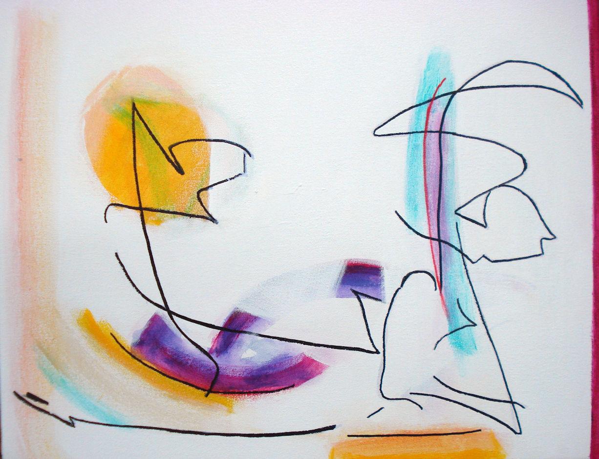 Pat Paxson, Surprise , mixed media on canvas, 16x20, $750