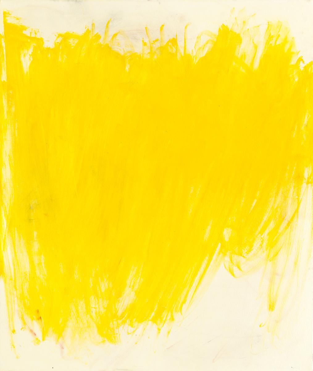 "Cadmium Yellow , oil paint, rag rubbing applied with fiberglass insulation,52"" x 44"""
