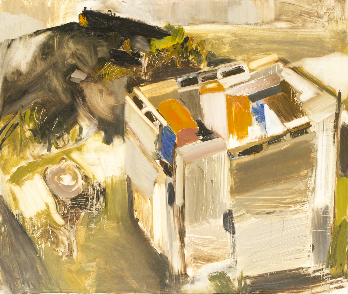 """Kerosene Cans in Concrete Block Cube, Tree Stump, and Yesterday's Fire , oil, 44"""" x 52"""""""