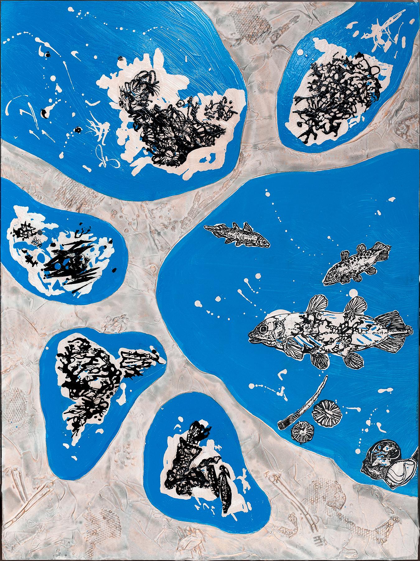 Triassic Pool Remains,  acrylic on panel, 24x18
