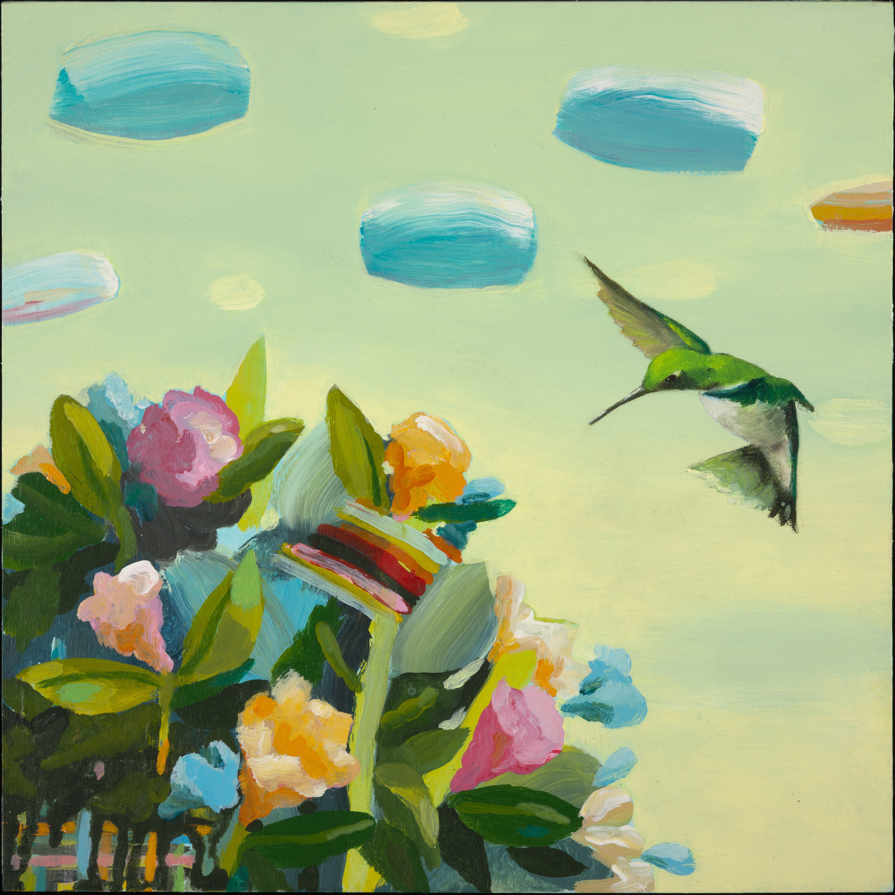 """Anne Sargent Walker ,  Crazy Flowers I,  Oil, acrylic on wood panel, 12"""" x 12"""""""