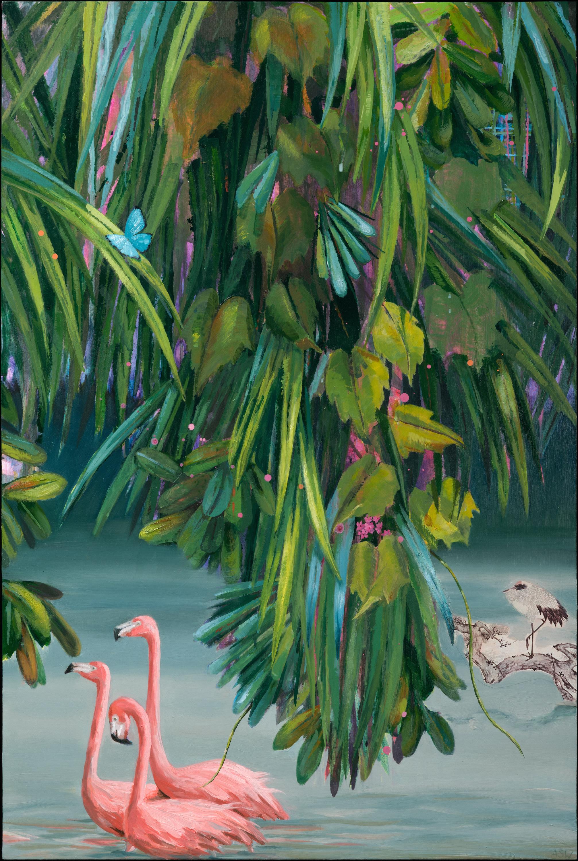 "Anne Sargent Walker ,  Flirtation/Migration 6(Flamingos),  Oil, acrylic, collage on wood panel, 30"" x 20"""