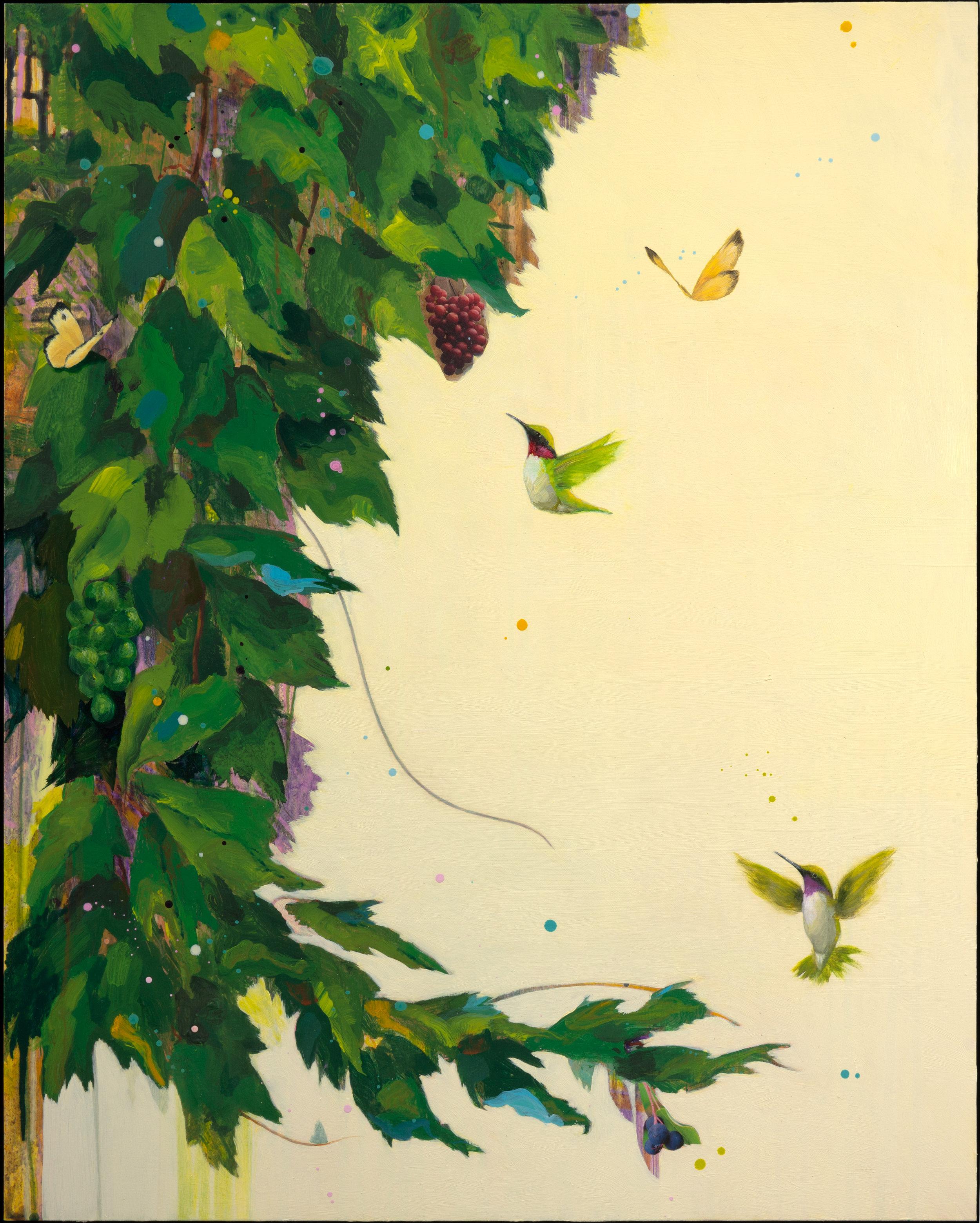 "Anne Sargent Walker ,  Flirtation/Migration 3(Grapes),   Oil, acrylic, collage on wood panel, 30""x24"""