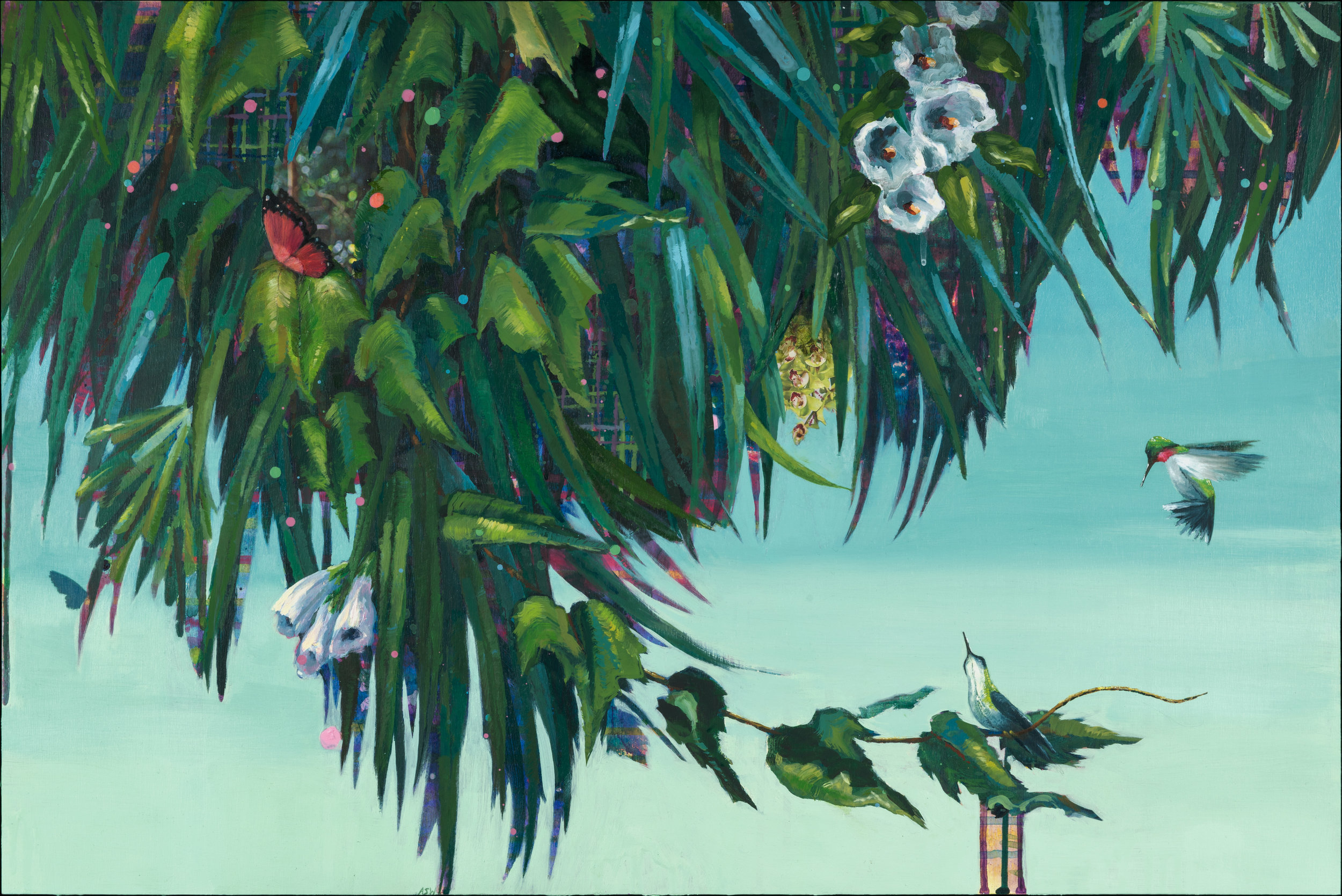 "Anne SargentWalker,   Flirtation/Migration 5(white Flowers),  Oil, acrylic, collage on wood panel, 20"" 30"""