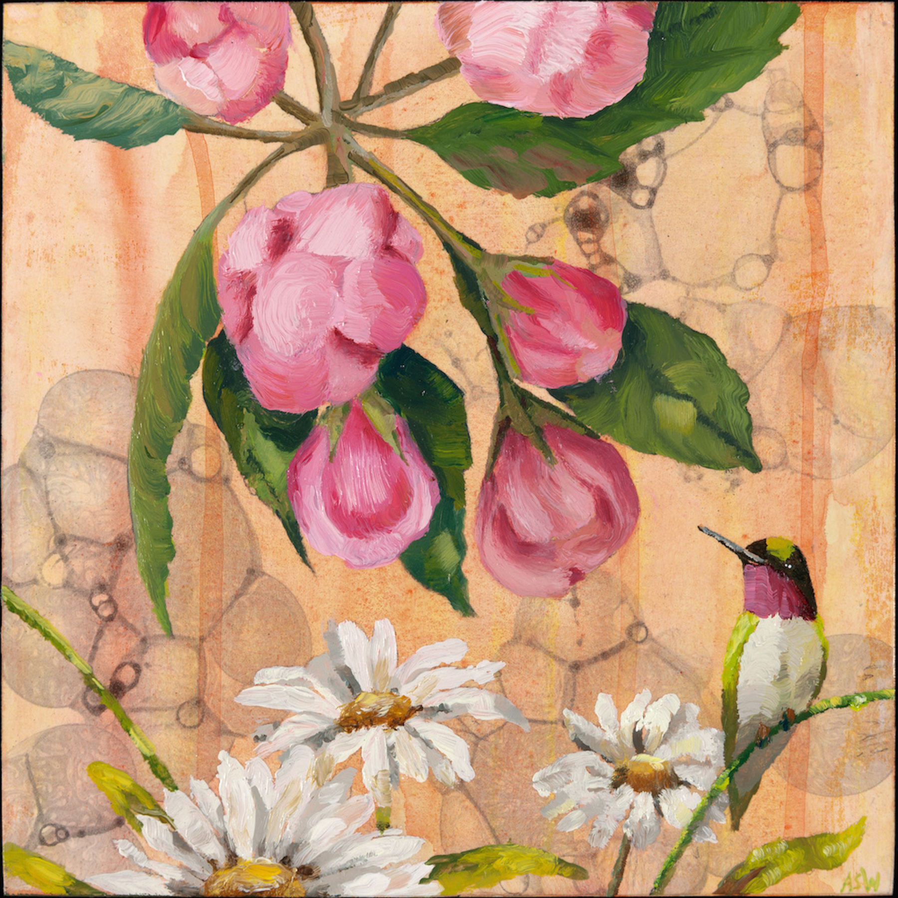 """Anne Sargent Walker ,  Hummingbird with Flowers,  Oil, acrylic on wood panel, 8"""" x 8"""""""