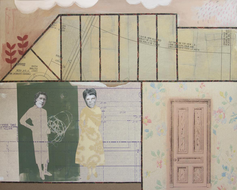 Chelsea Revelle,  Pansy Blossom , Found paper, paint, graphite on masonite, 20x16