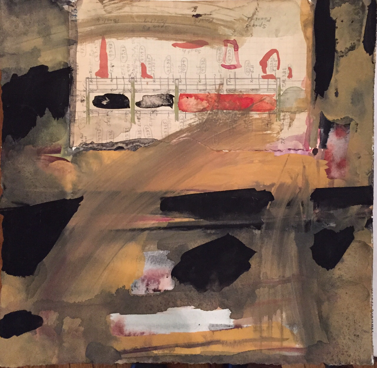 Roz Sommer, Field Room 145, Gouache and collage on paper, 10x10