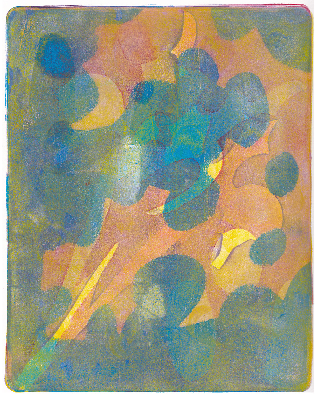 Monica DeSalvo,  Sun Shadow , Gelatin monoprint with acrylic, 12x16