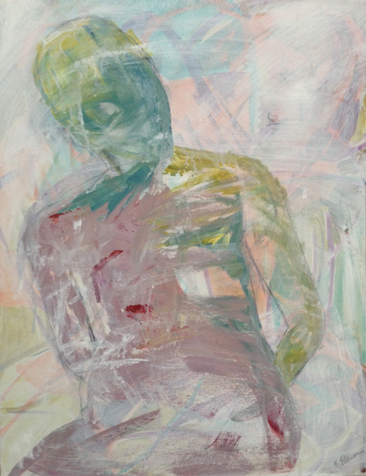 Karen Rothman,  Who, Where, Why, When, What, How?  Acrylic on canvas, 28x22