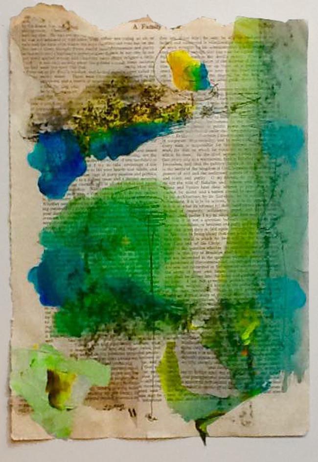 Janet Albert,  Between Trapezes,  Mixed media on paper, 16x20