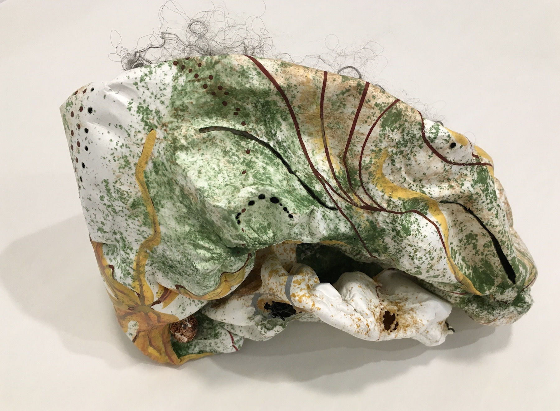 Susan Emmerson,  Yellowing , acrylic on cut and molded Tyvek, mixed media, 10x6.5x6