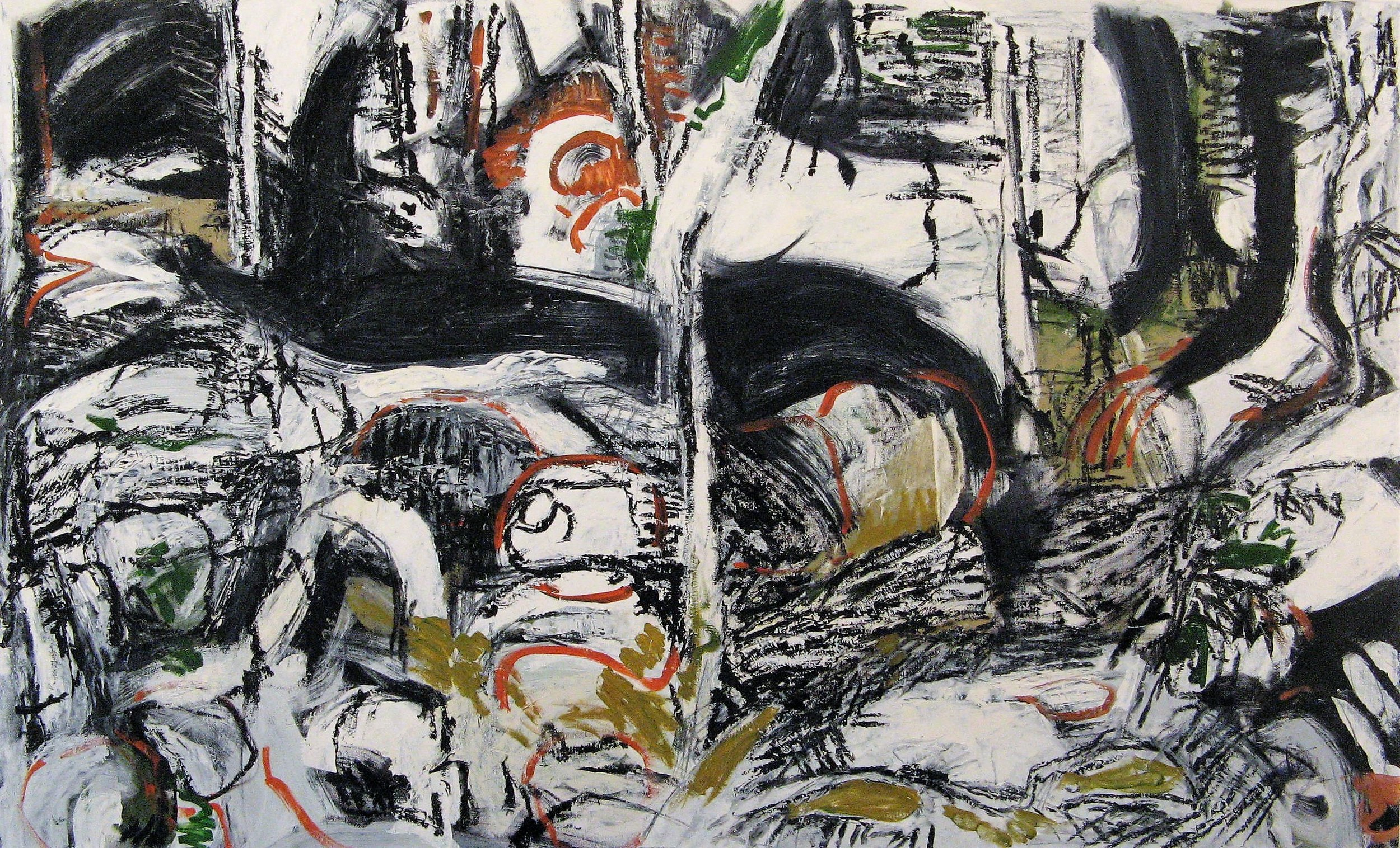 Iris Osterman,  Sticks and Stones 1 , Oil on Canvas, 30x50