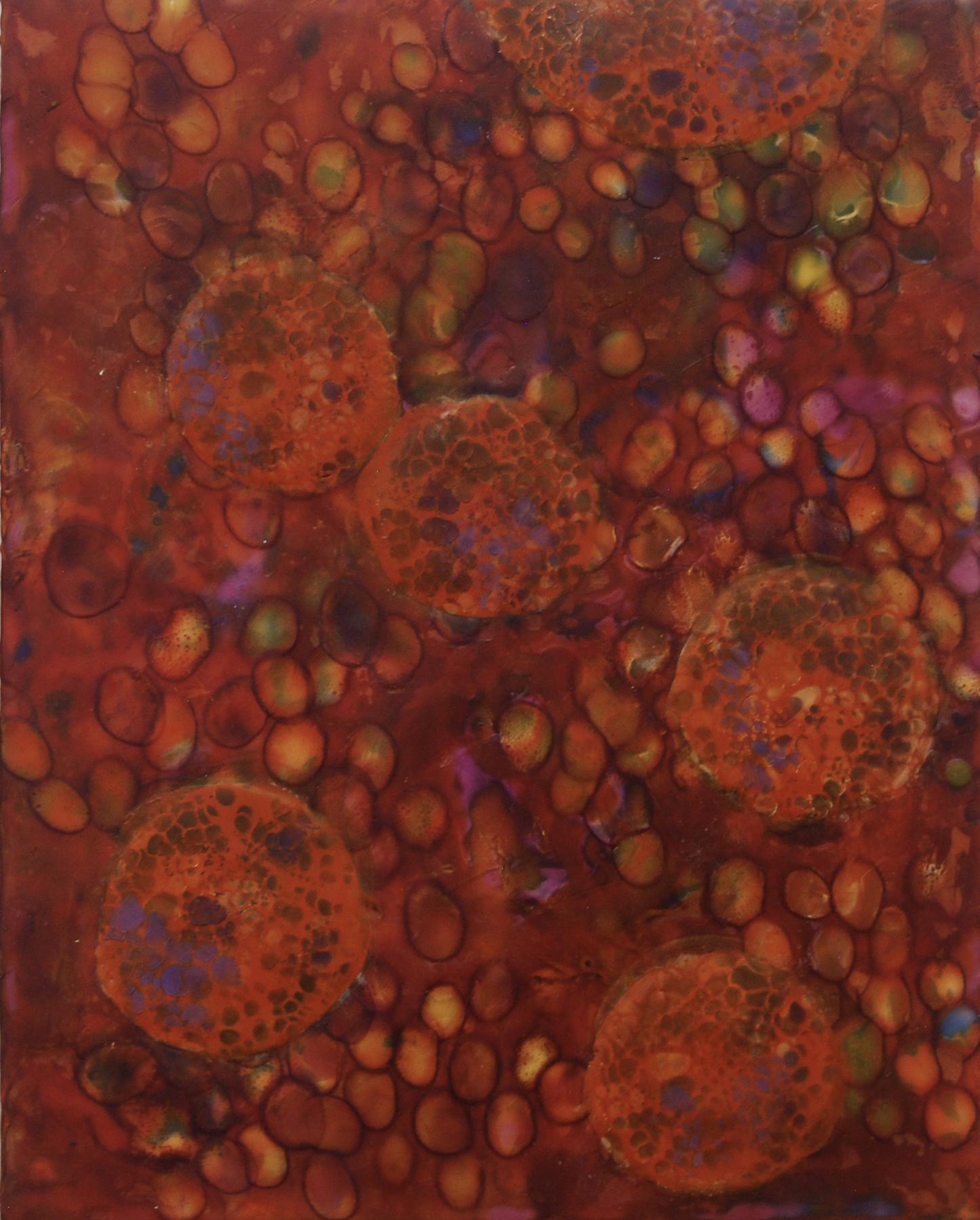 K. Hartung,  Bio Layers 3 , encaustic and mixed media, 16x20