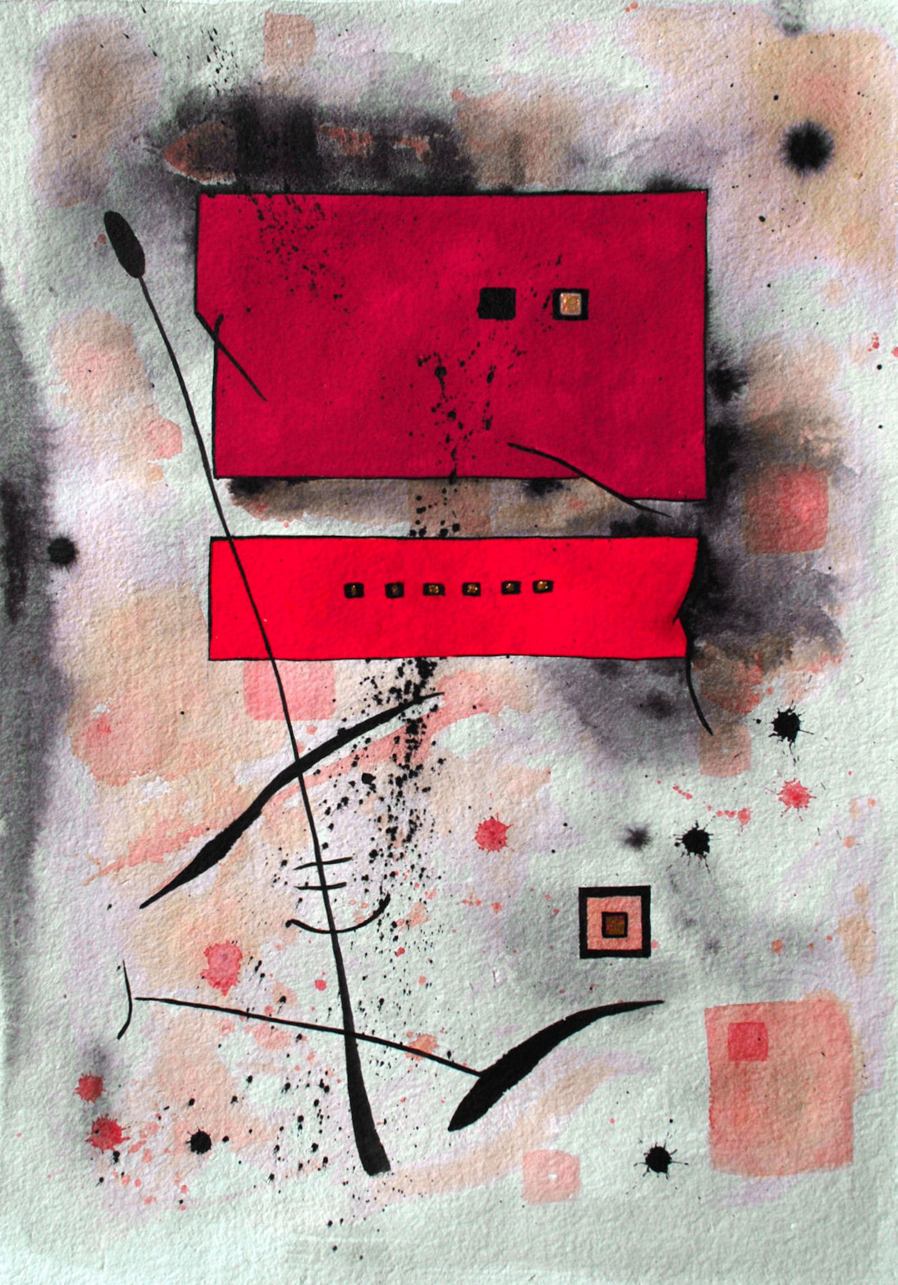 """Cherry:  Watercolor, Ink, Gouche, Gilding on paper, 22x30"""""""
