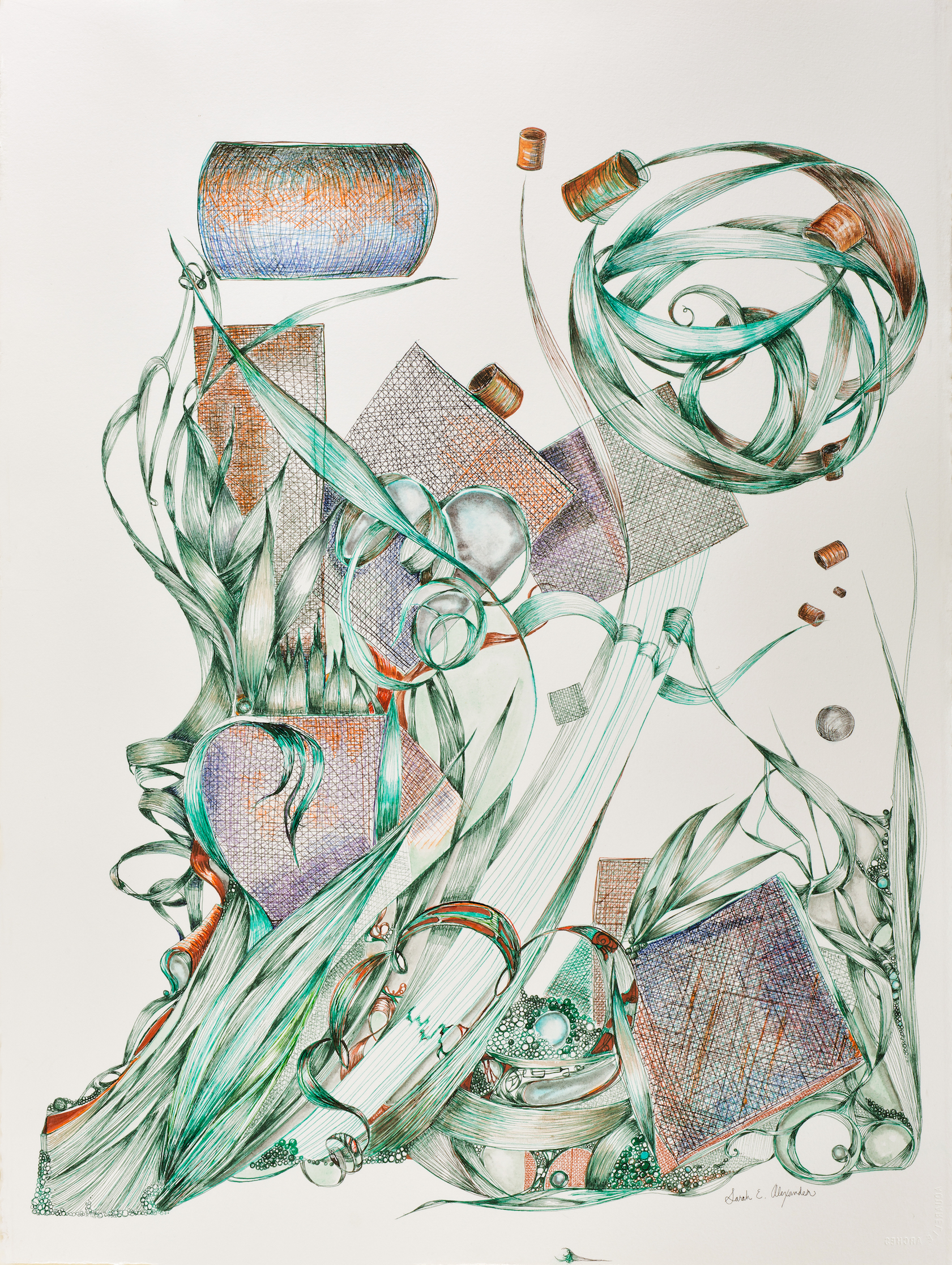 """Sarah Alexander, Elude , 22""""x30"""", Ink and Watercolor on Paper"""