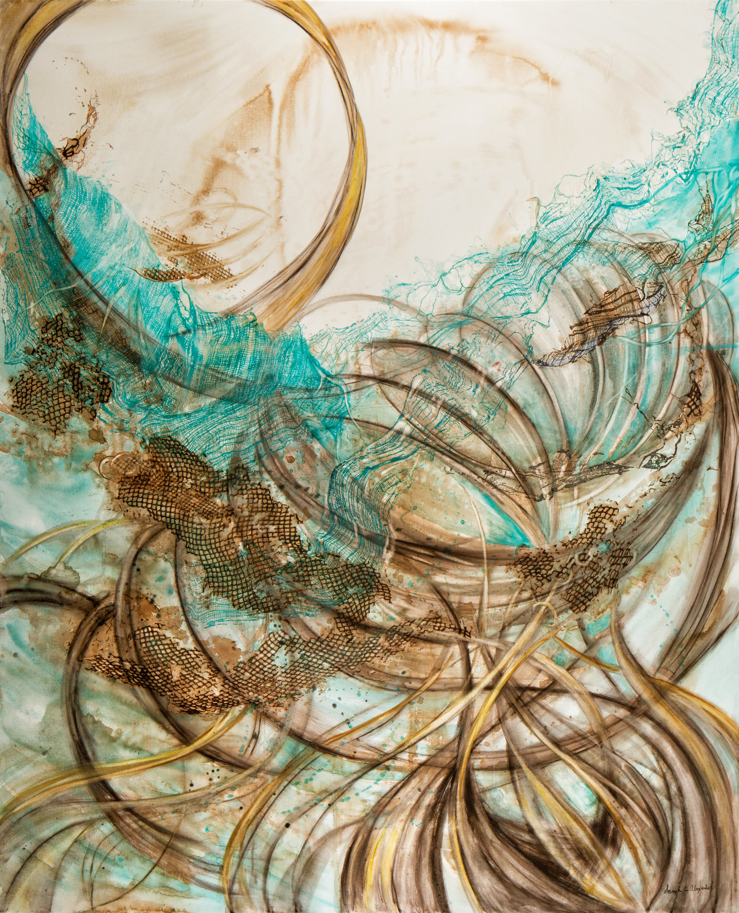 Sarah Alexander, In Flux , Watercolor, Charcoal and Ink on Canvas