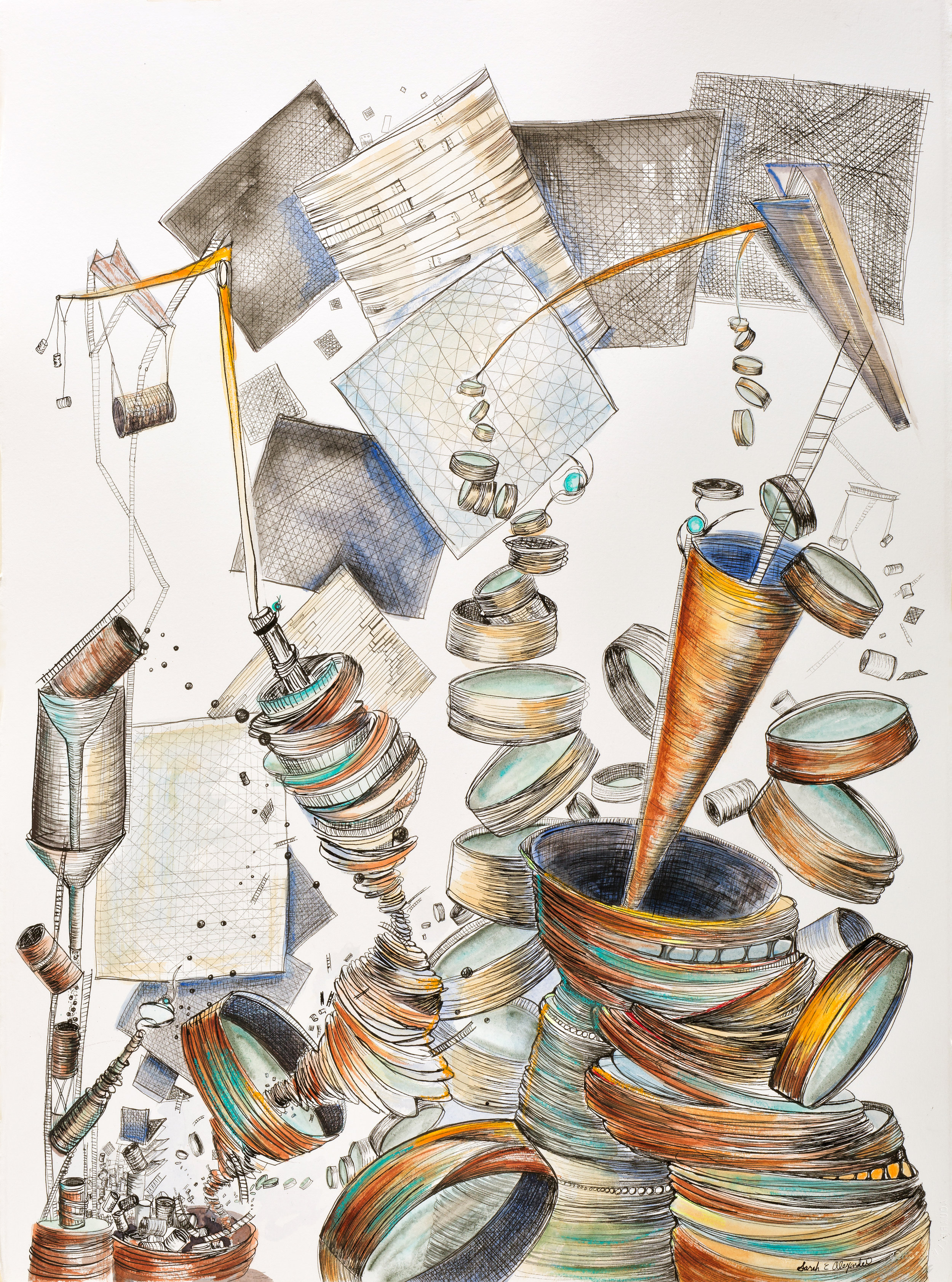 """Sarah Alexander, Ascent , 22""""x30"""", Ink and Watercolor on Paper"""