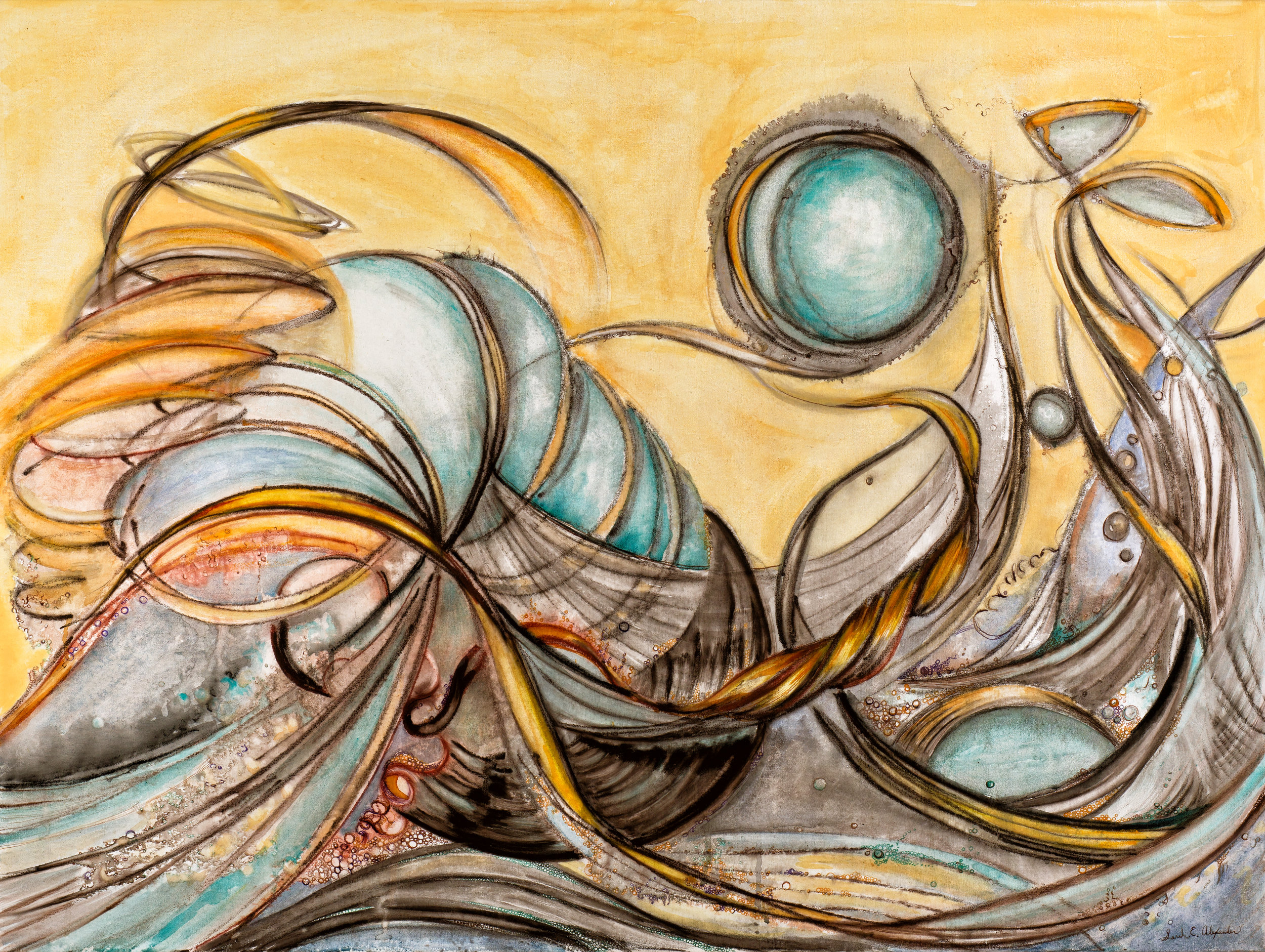 """Sarah Alexander, Turbulence , 30""""x40"""", Drawing Ink and Watercolor on Canvas"""
