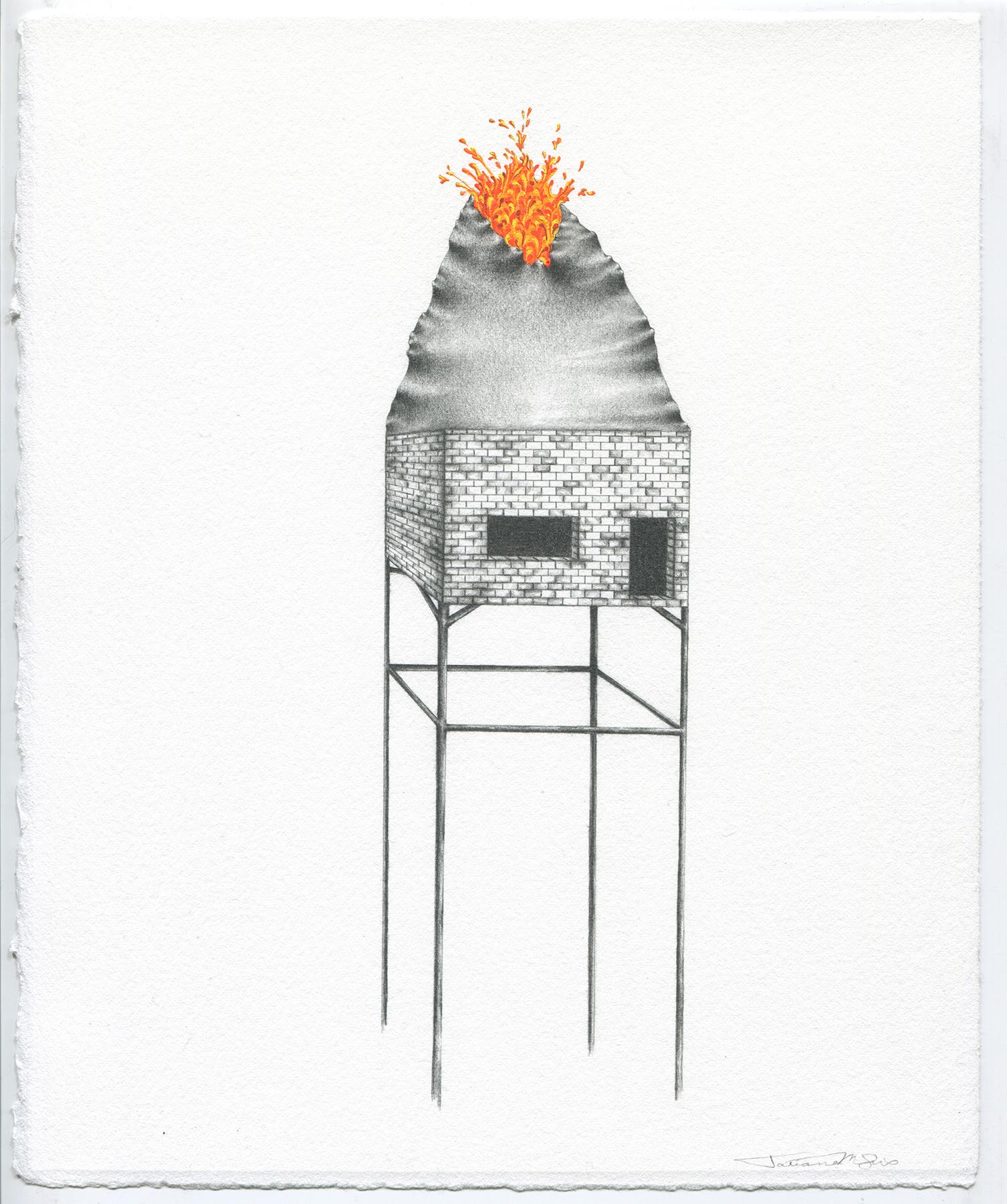 Tatiana Flis, (An)Obsidian Return, graphite and gouache.