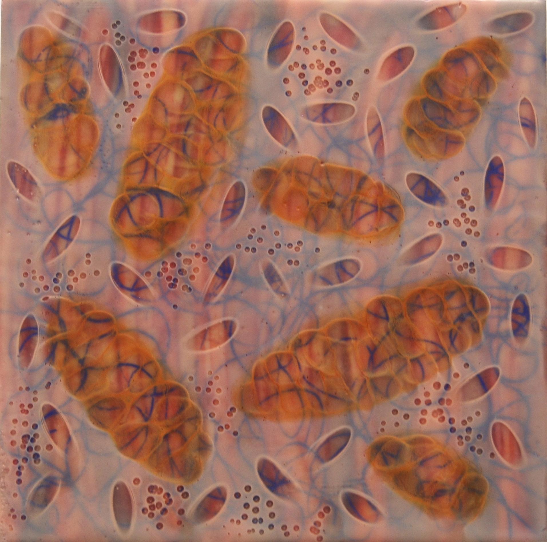 Kay Hartung,  Tangle 4 , encaustic and mixed media, 8x8
