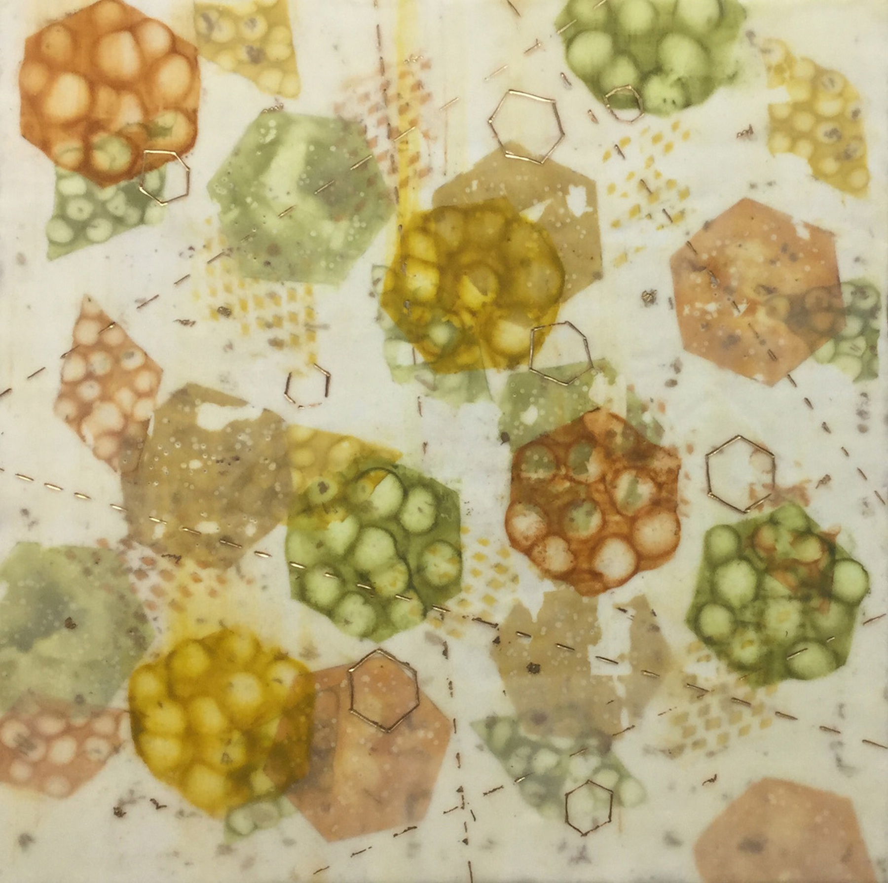 Kay Hartung,  Bio System 3 , Encaustic and mixed media, 20x20
