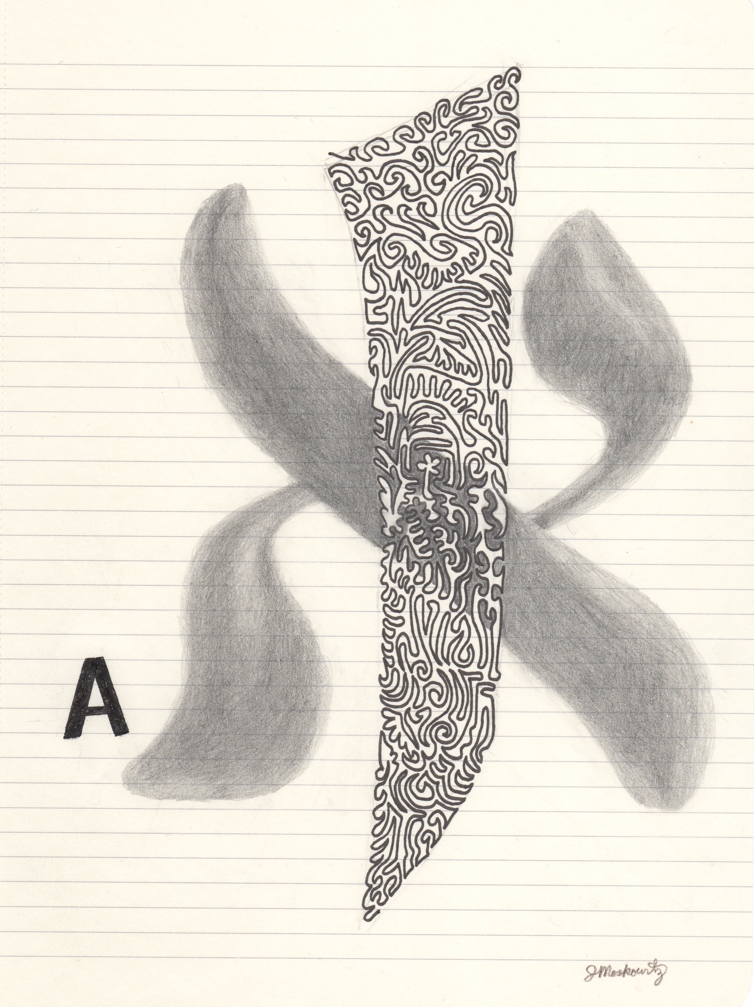 Joel Moskowitz,  Arabic  Alif  and Hebrew  Aleph,  with A,  Ink and pencil on paper, 10x8