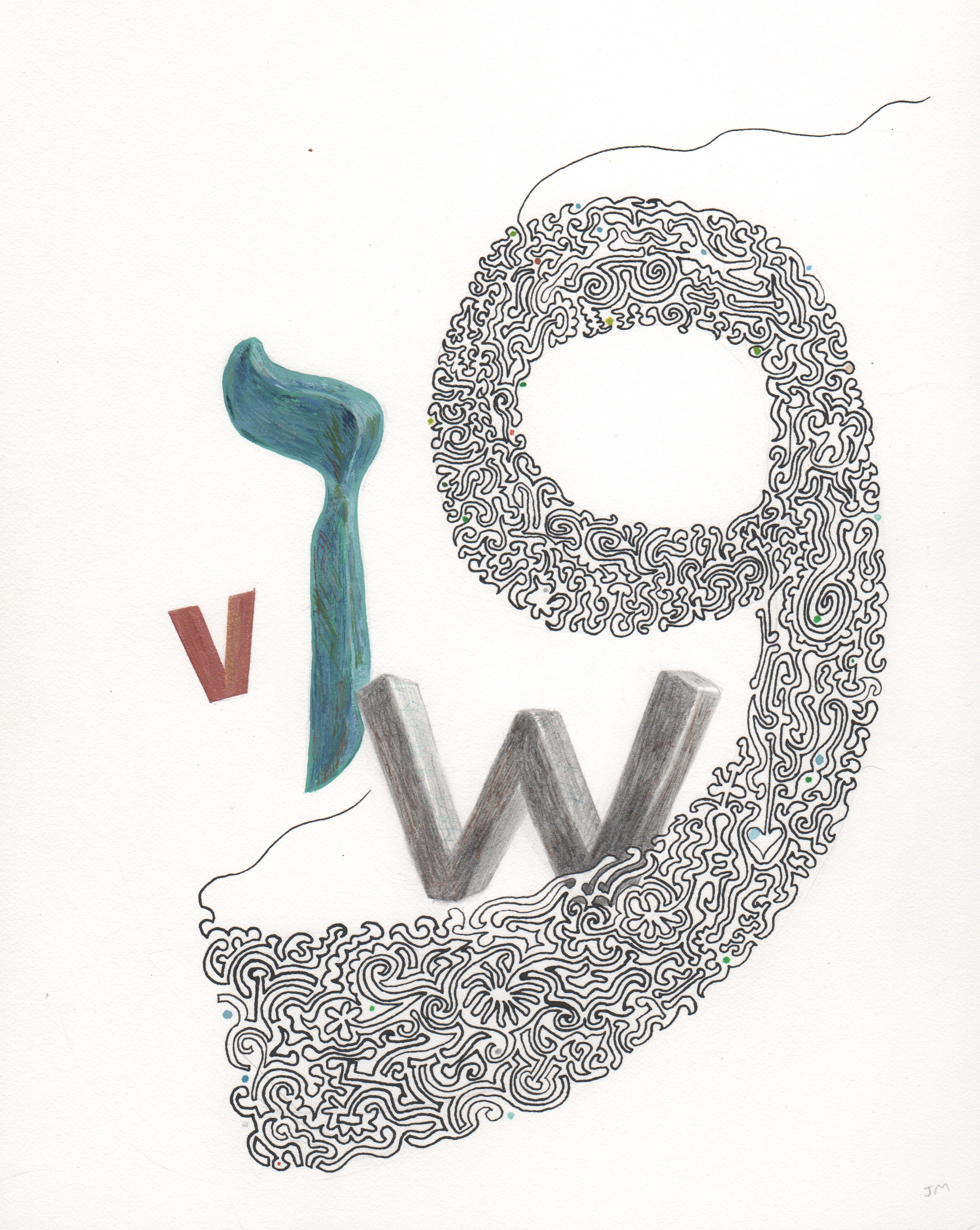 Joel Moskowitz,  Arabic  Waaw  and Hebrew  Vav , with V and W,  Mixed media on paper, 11x9