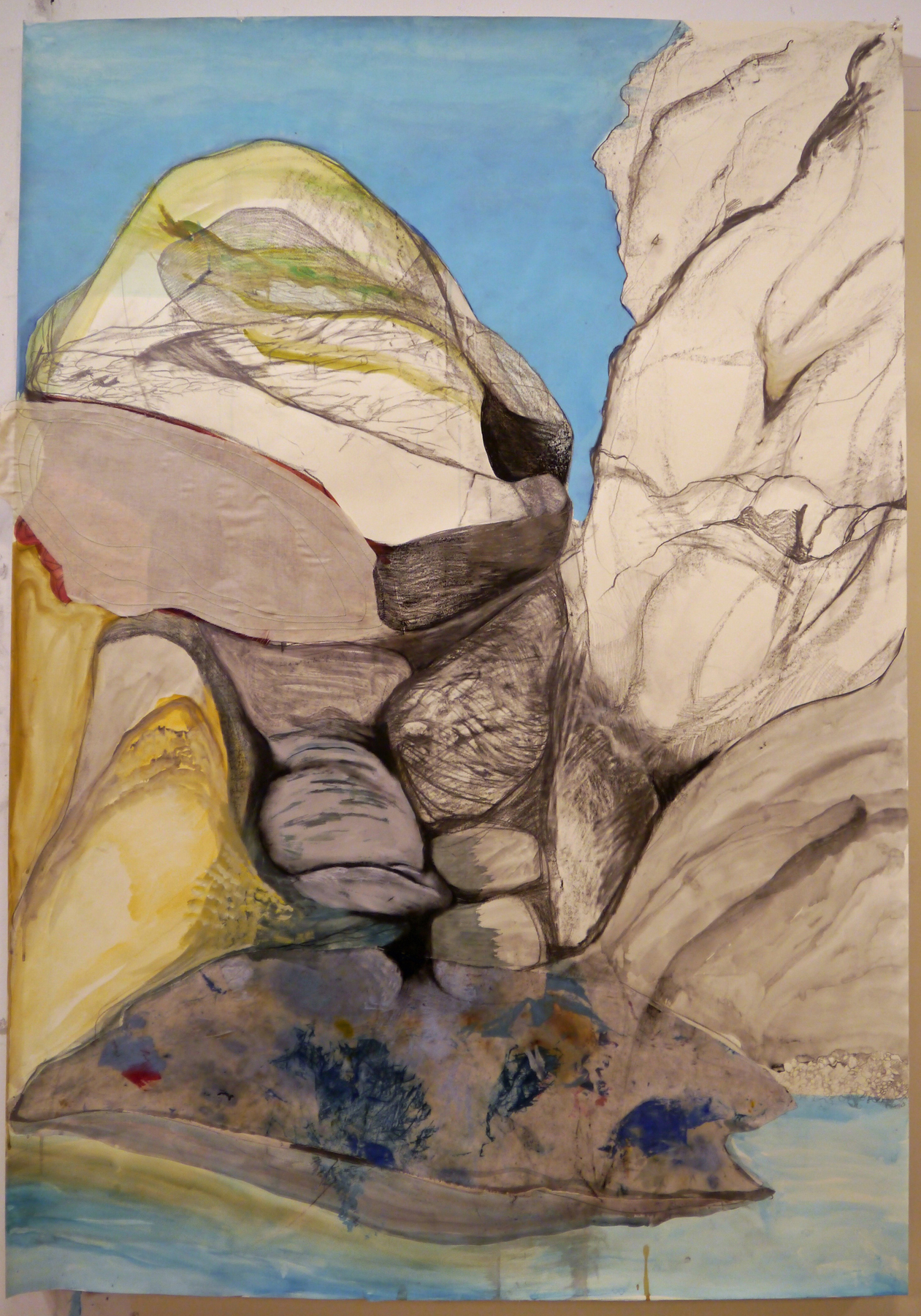 "Rock Dreaming of Rocks , acrylic, graphite and stitched fabric on paper, 60"" x 42"""