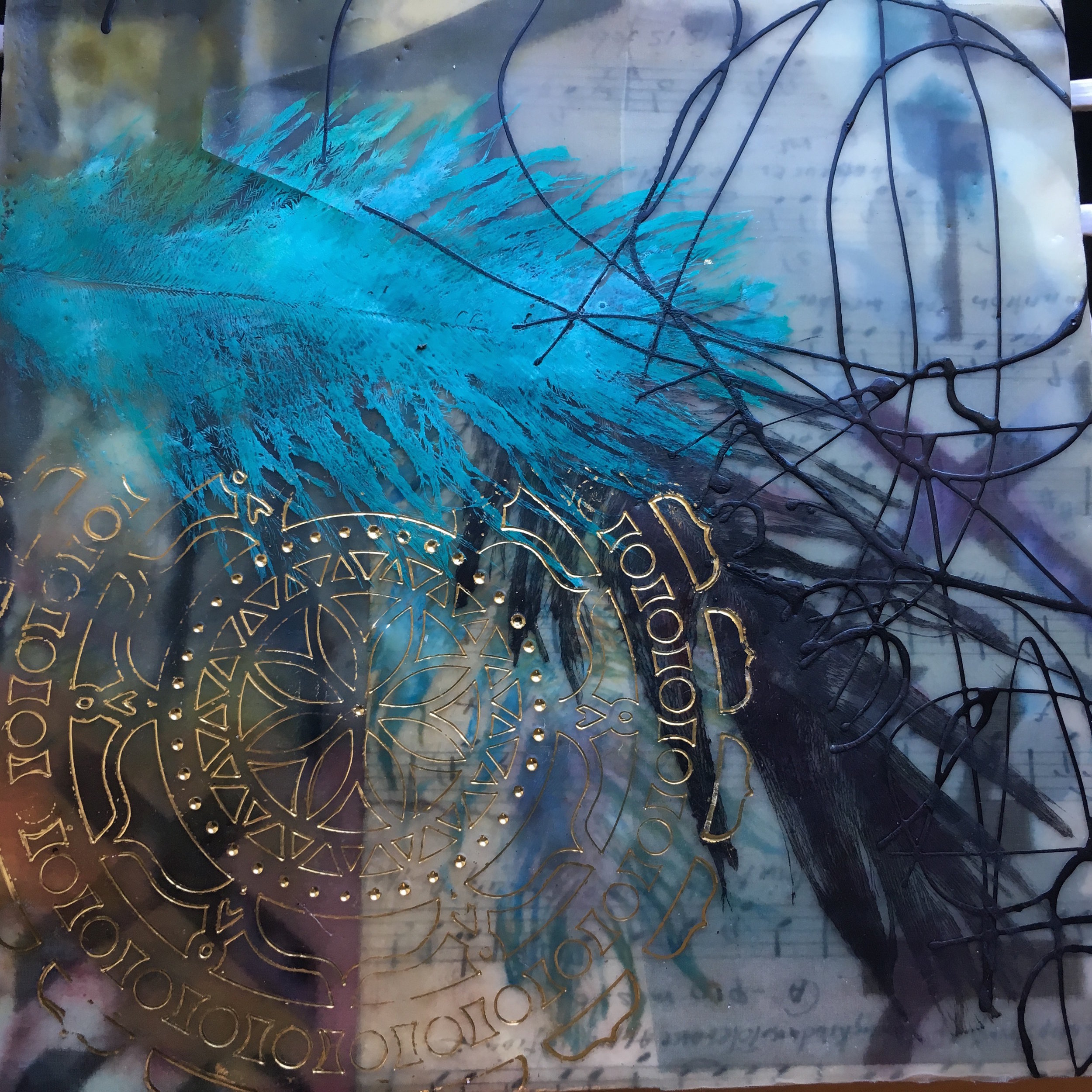 """Feathered , encaustic painting, 10"""" x 8"""""""