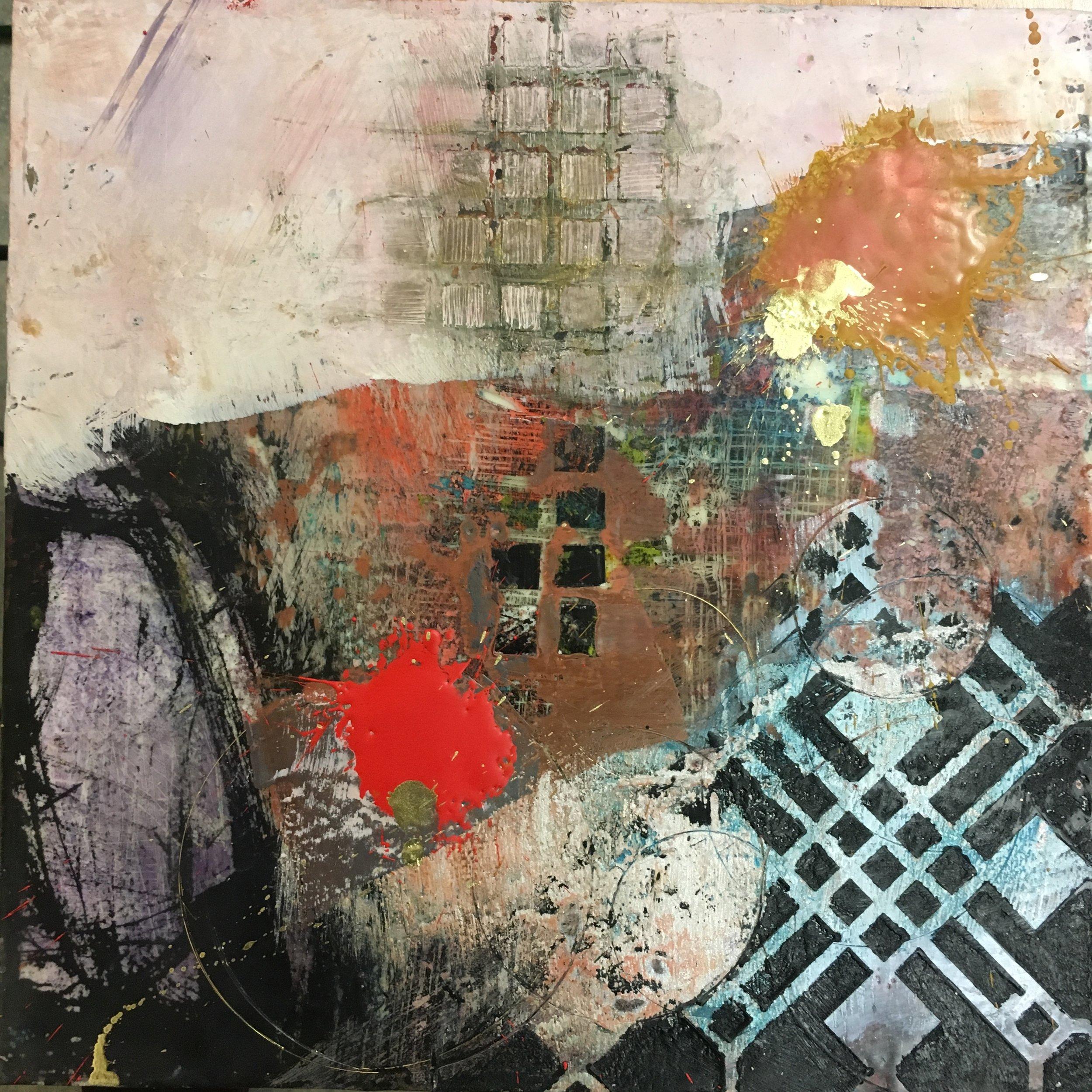 "Outburst , encaustic painting, 12"" x 12"""