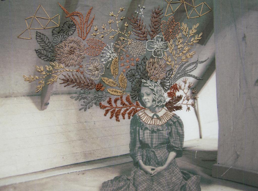 "Calli , fabric, inkjet dye‑based ink, embroidery floss, 9"" x 11"" x 1.5"""