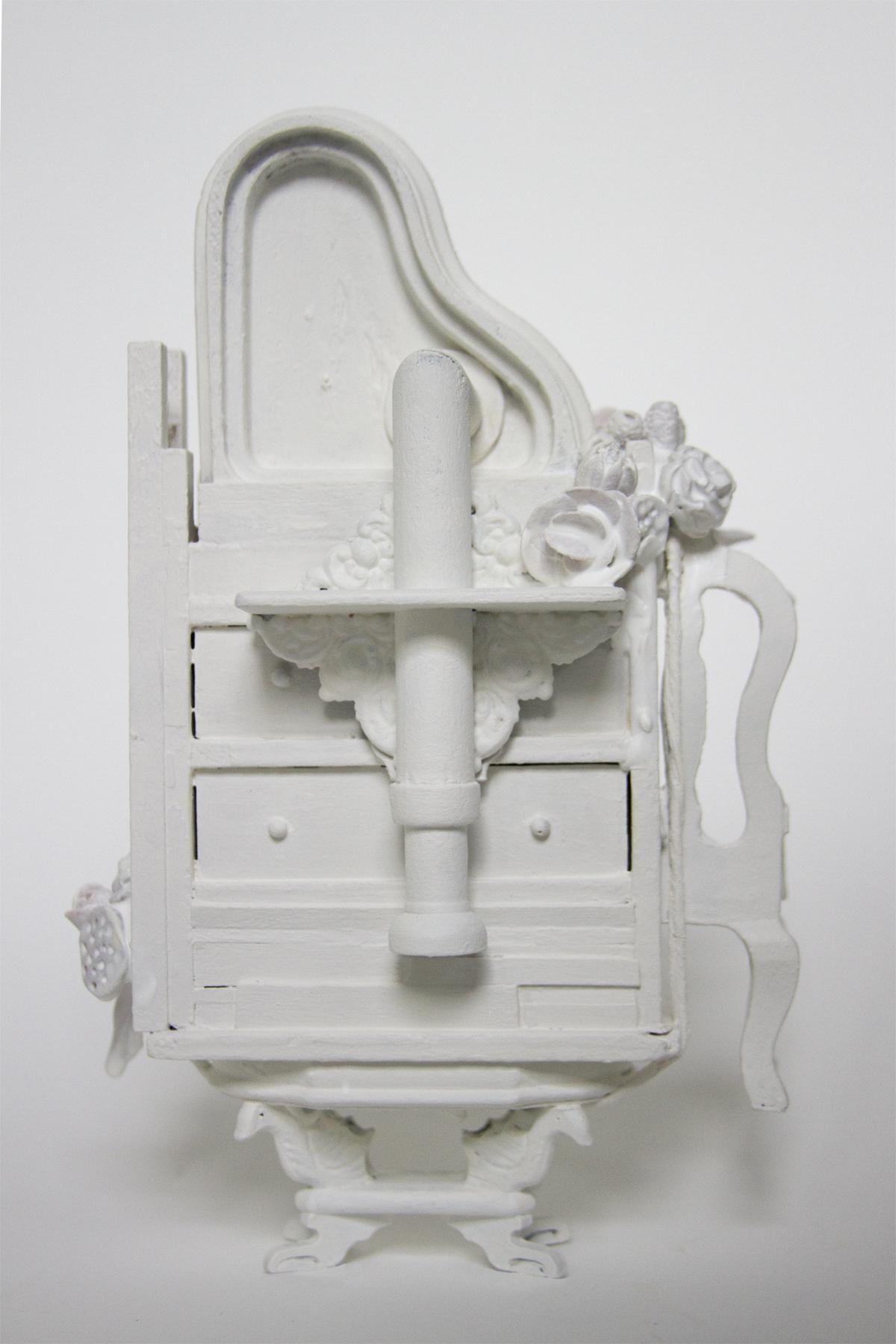 "Flight of Fancy , dollhouse furniture, latex paint, sculpy, encaustic,8.25"" x 5"" x 3"""