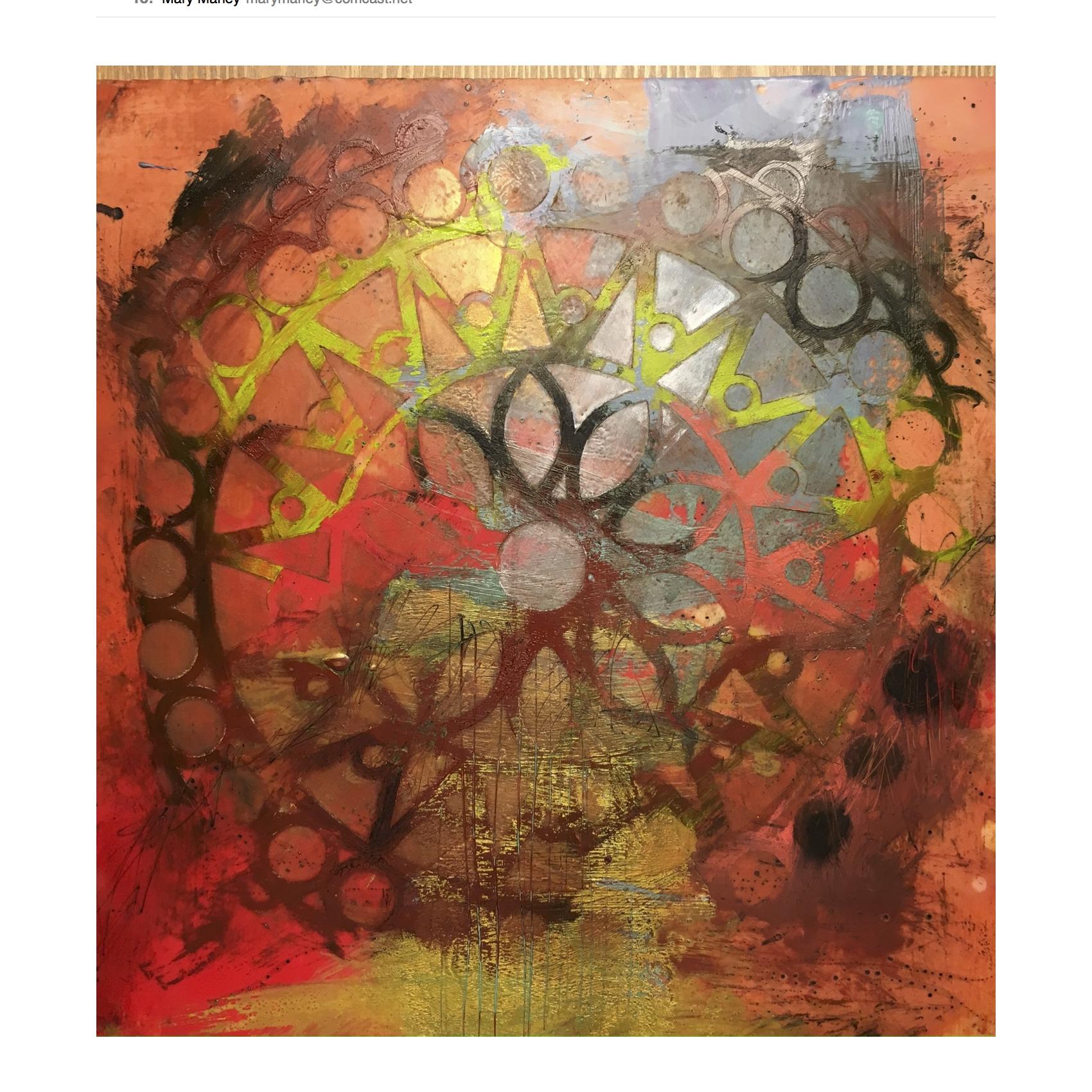 "Come Around , encaustic painting, 12"" x 12"""